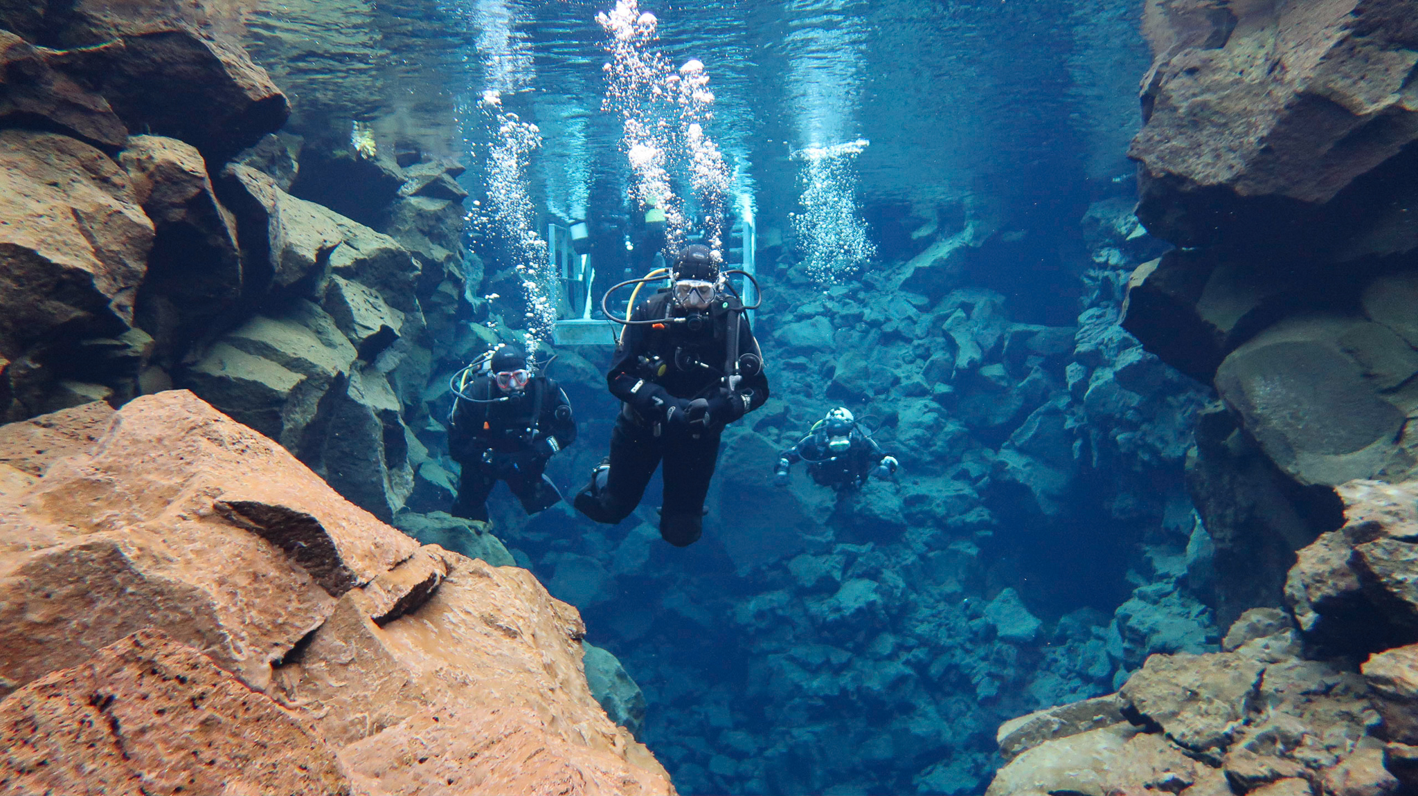 Crystal clear water at Silfra Fissure in Thingvellir National Park, Iceland. Photo by Tania Roque of DIVE.IS