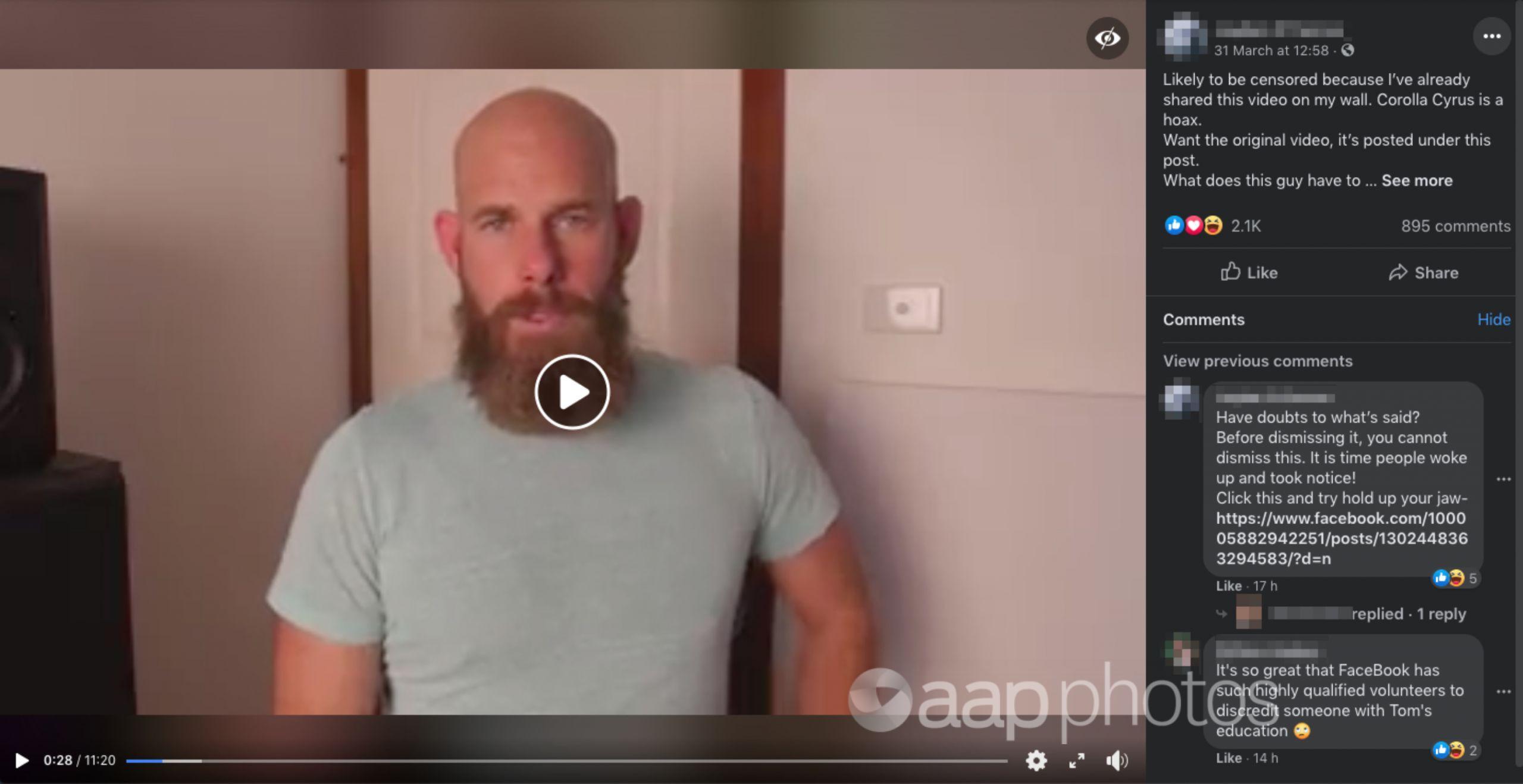 Screenshot of Facebook video