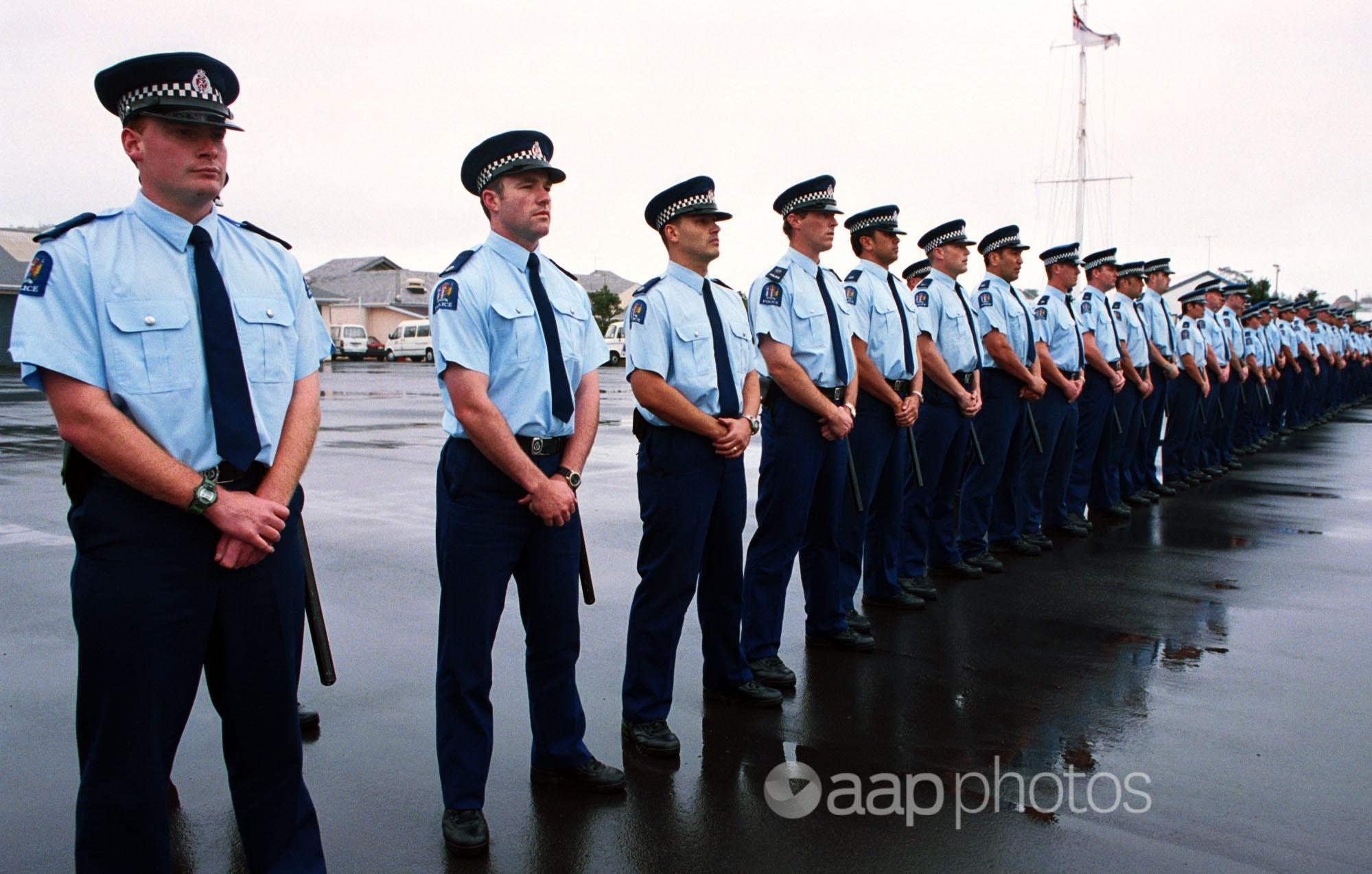 A line of NZ Police in uniform