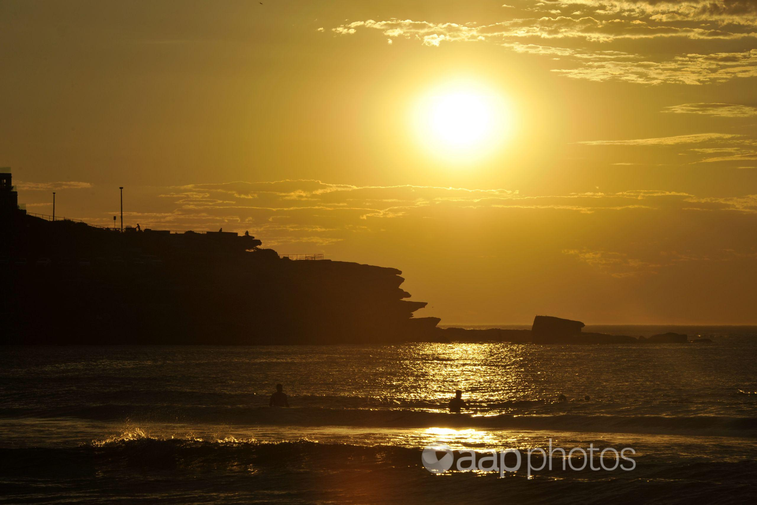 The sun over Sydney's Bondi Beach