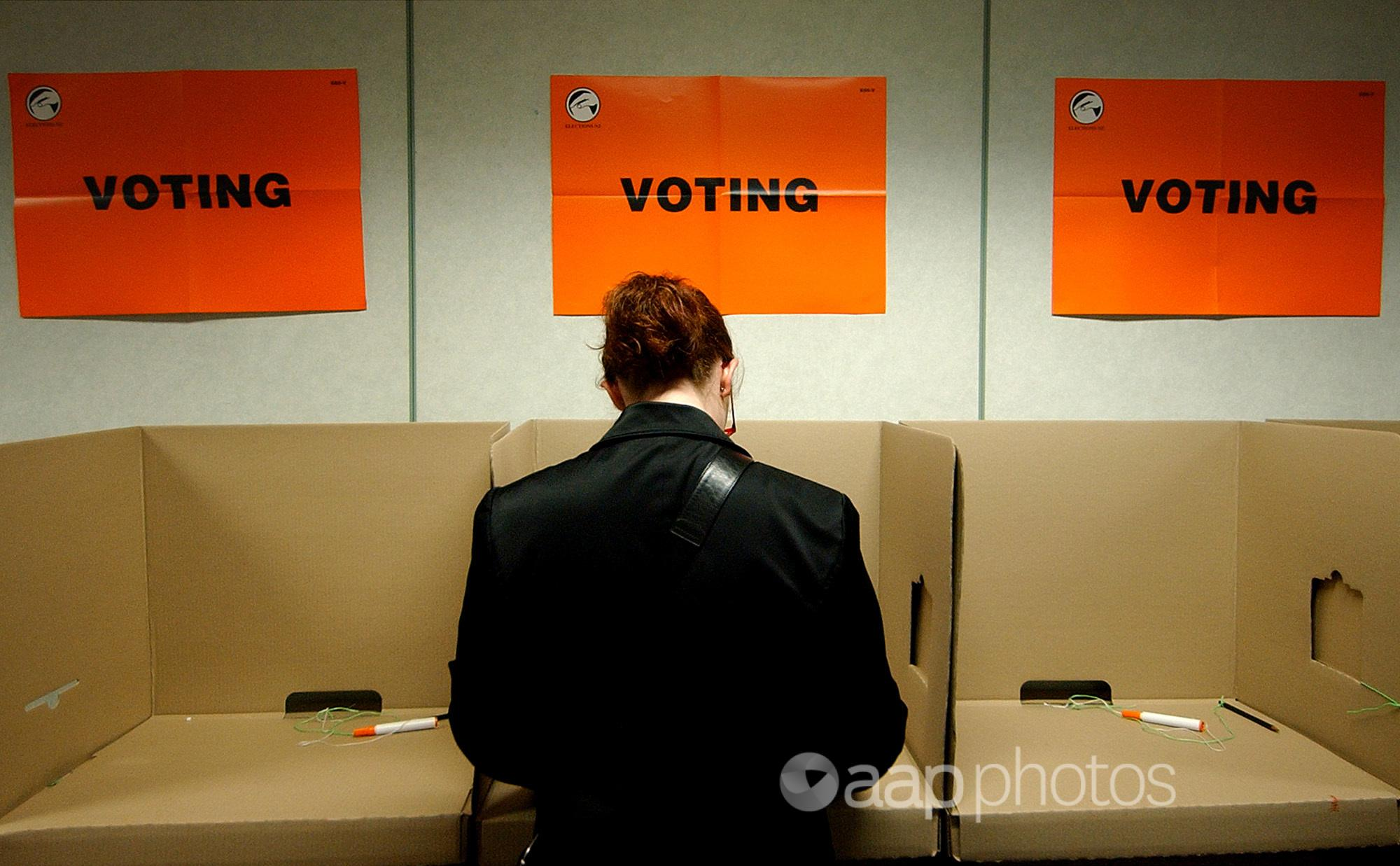A person votes at the New Zealand general election