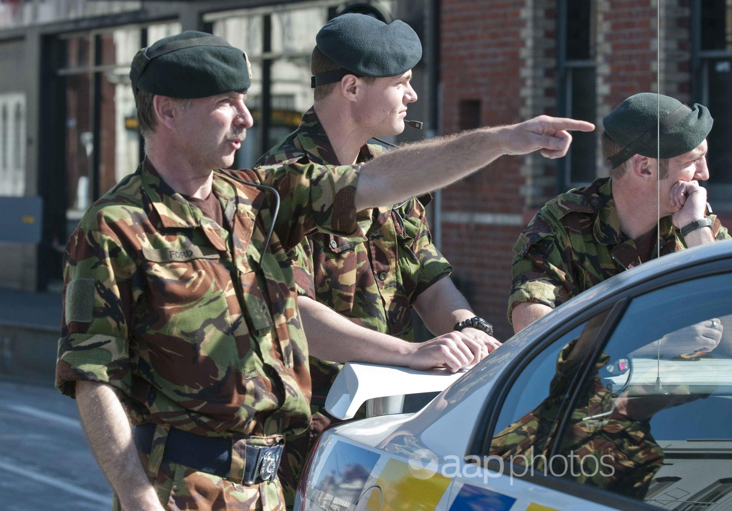 Army personnel in central Christchurch.