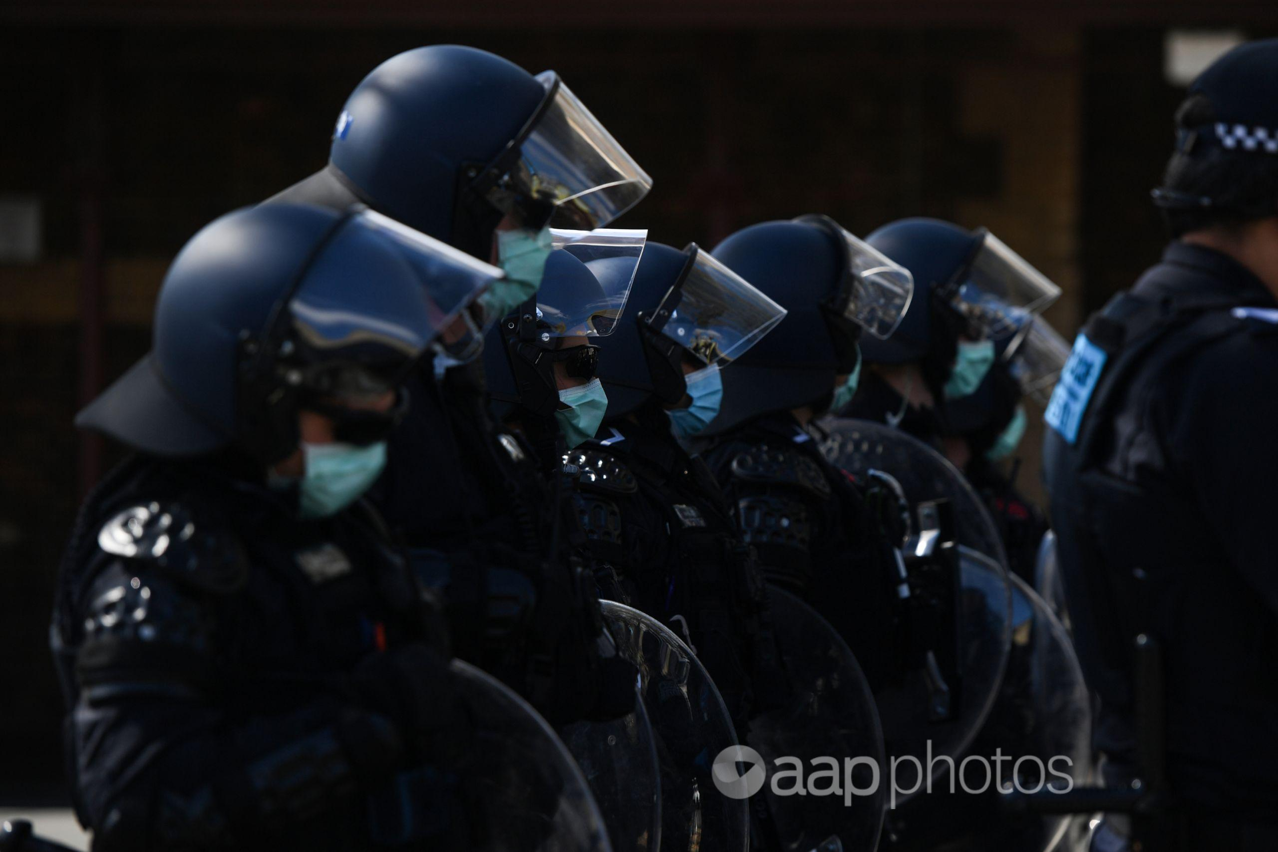 Victoria Police officers in riot gear