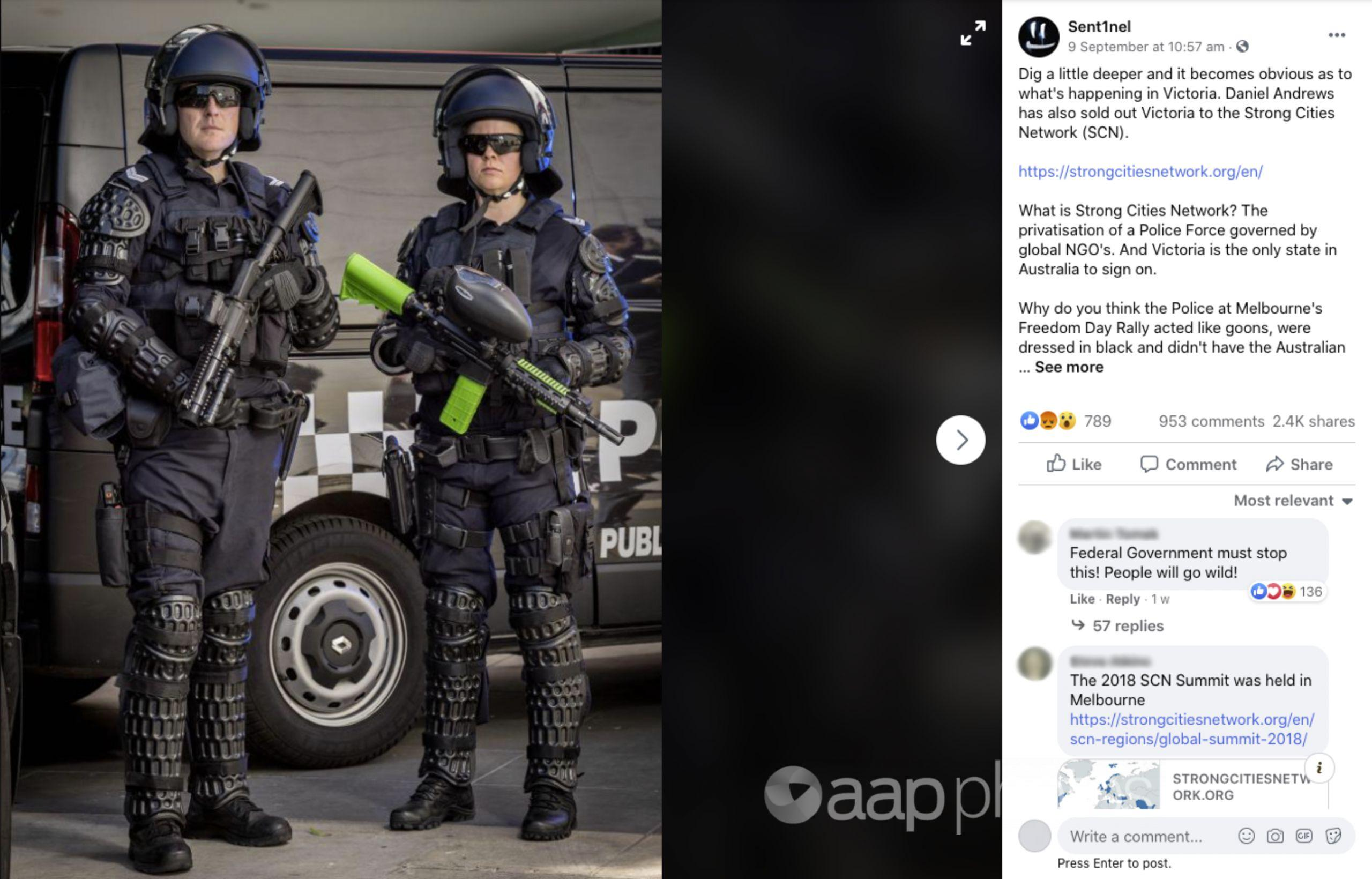 A Facebook post falsely suggesting Victoria Police are privatised