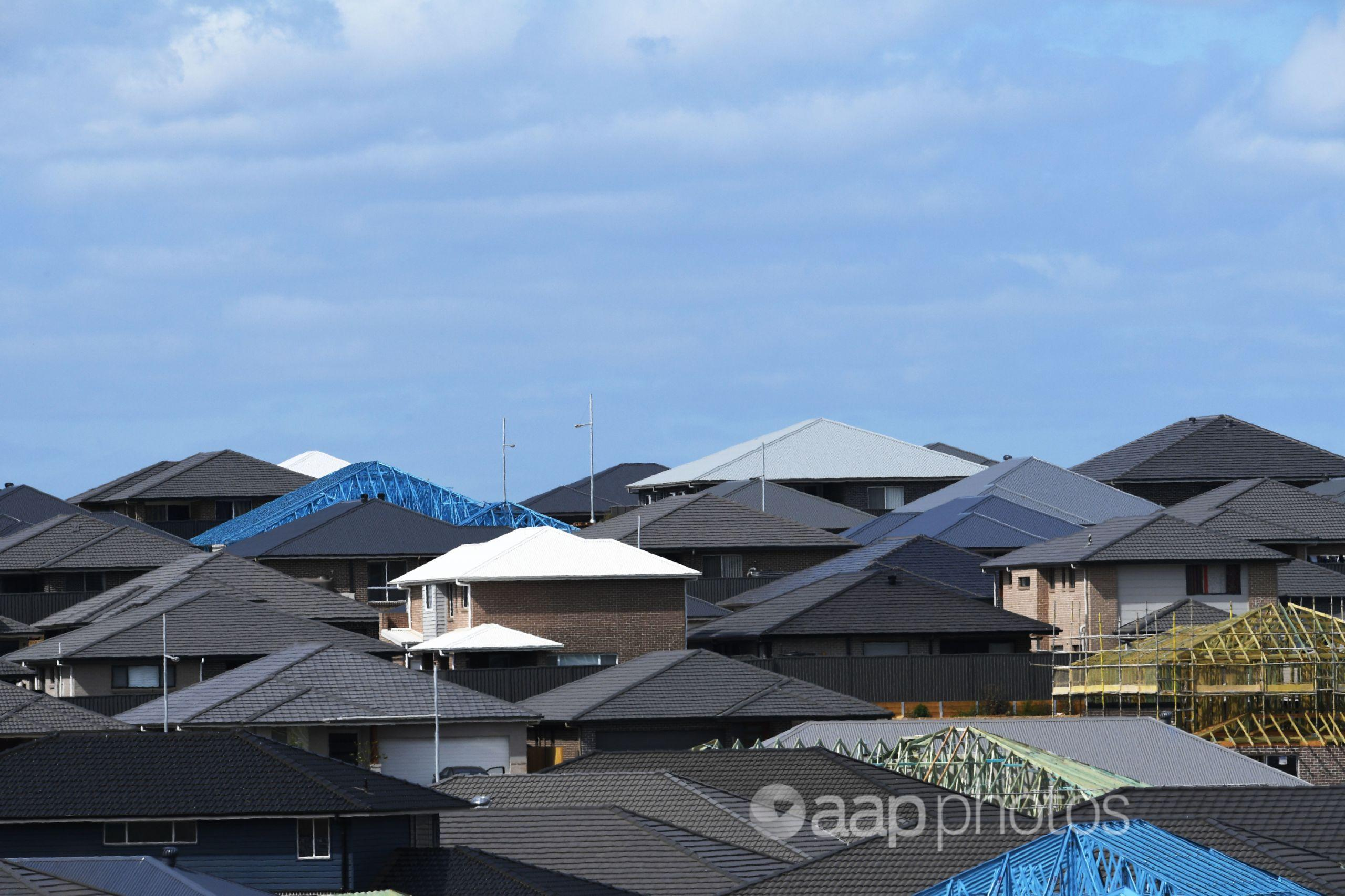 View across roofs with some under construction
