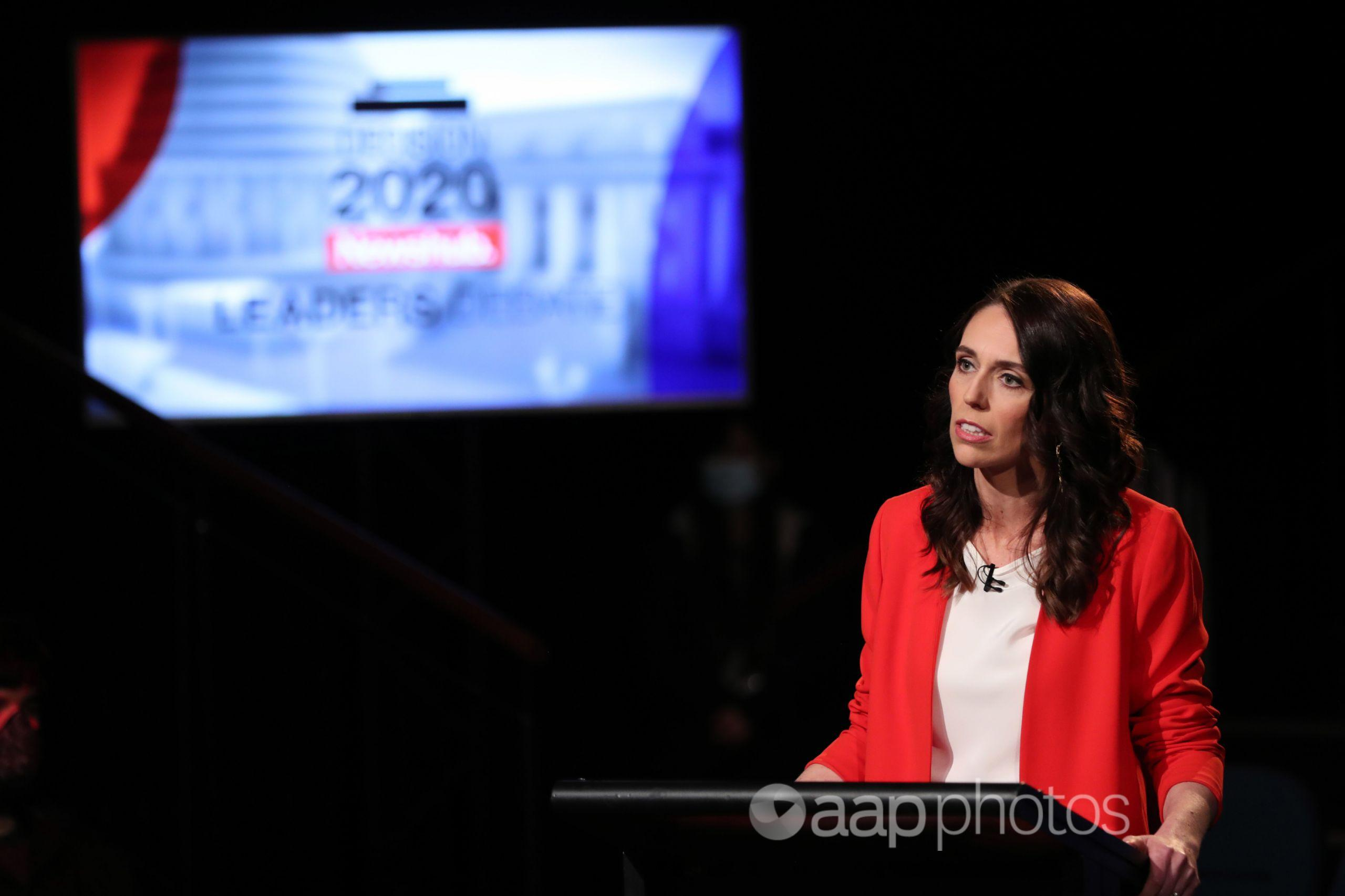 NZ Prime Minister Jacinda Ardern at a televised leaders' debate