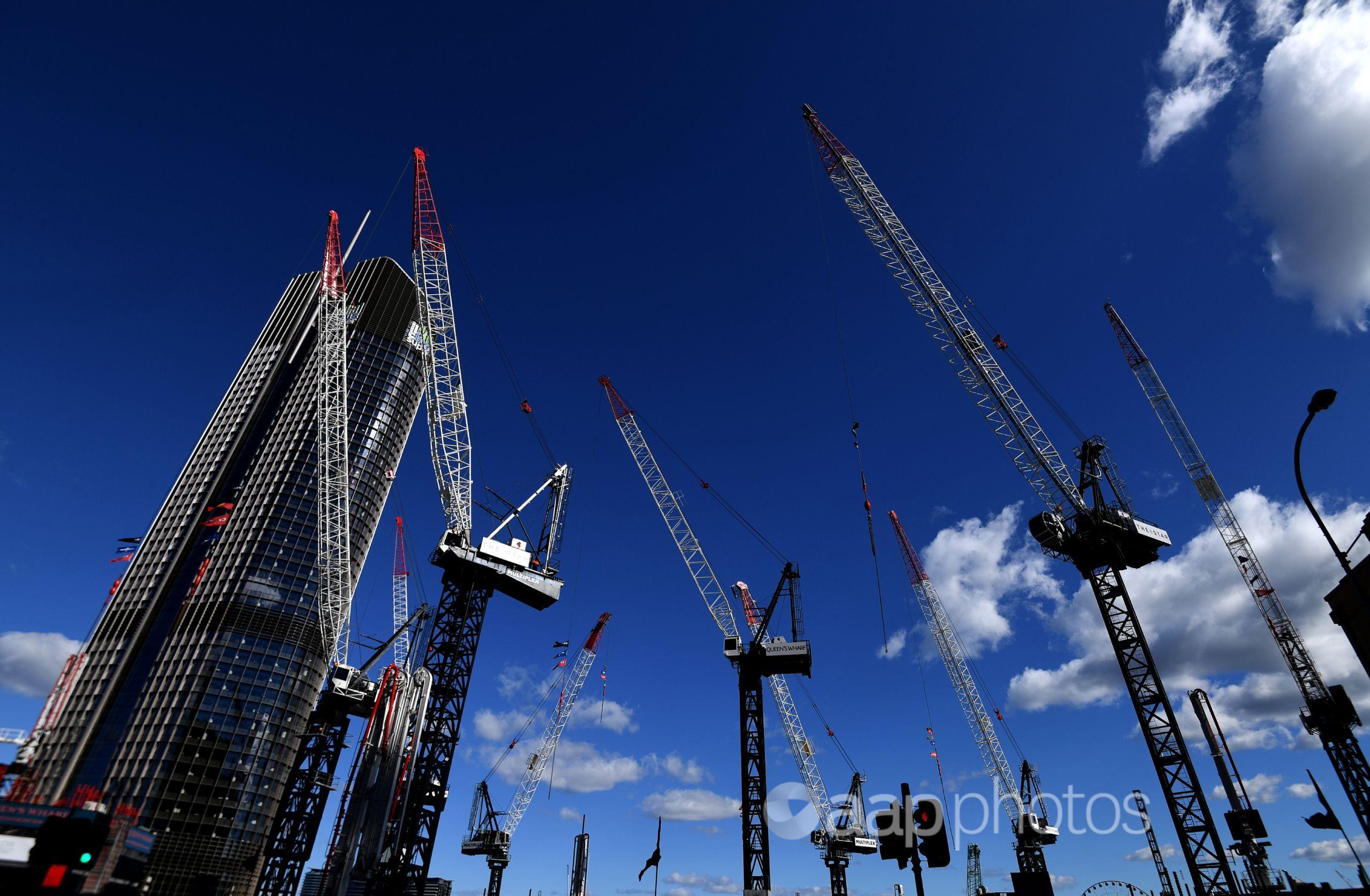 Cranes against a blue sky