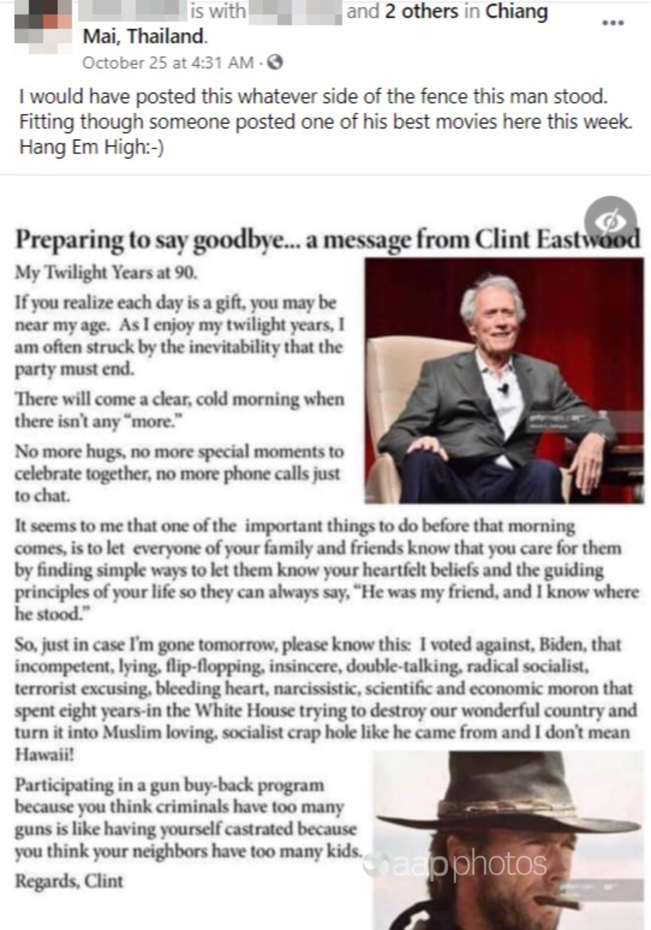 Clint Eastwood Facebook post
