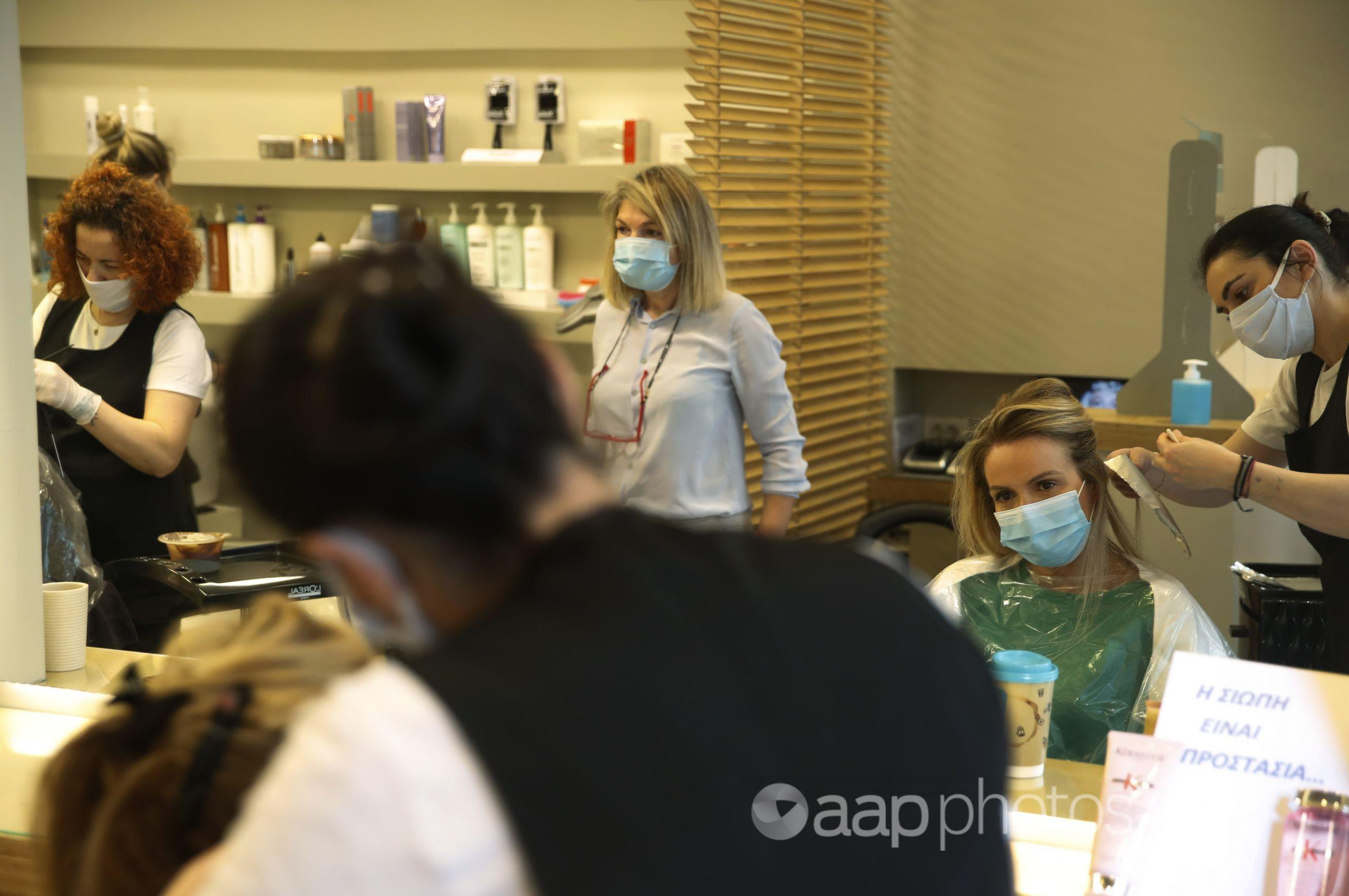 COVID-19 masks in a beauty salon
