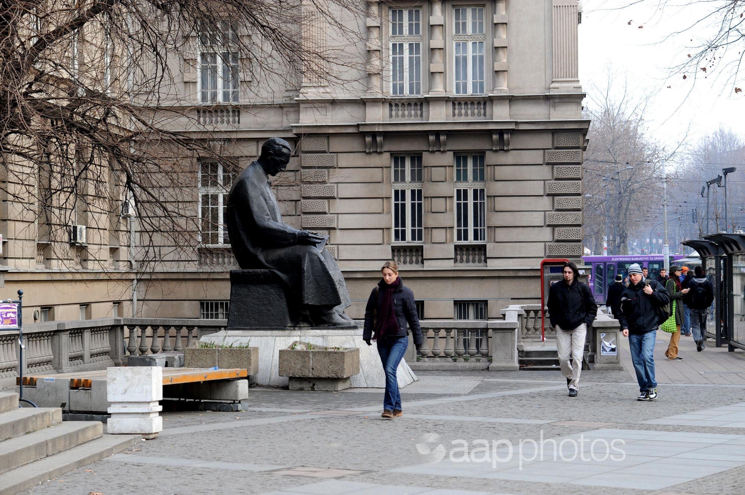 A statue of the inventor and scientist Nikola Tesla in Belgrade.