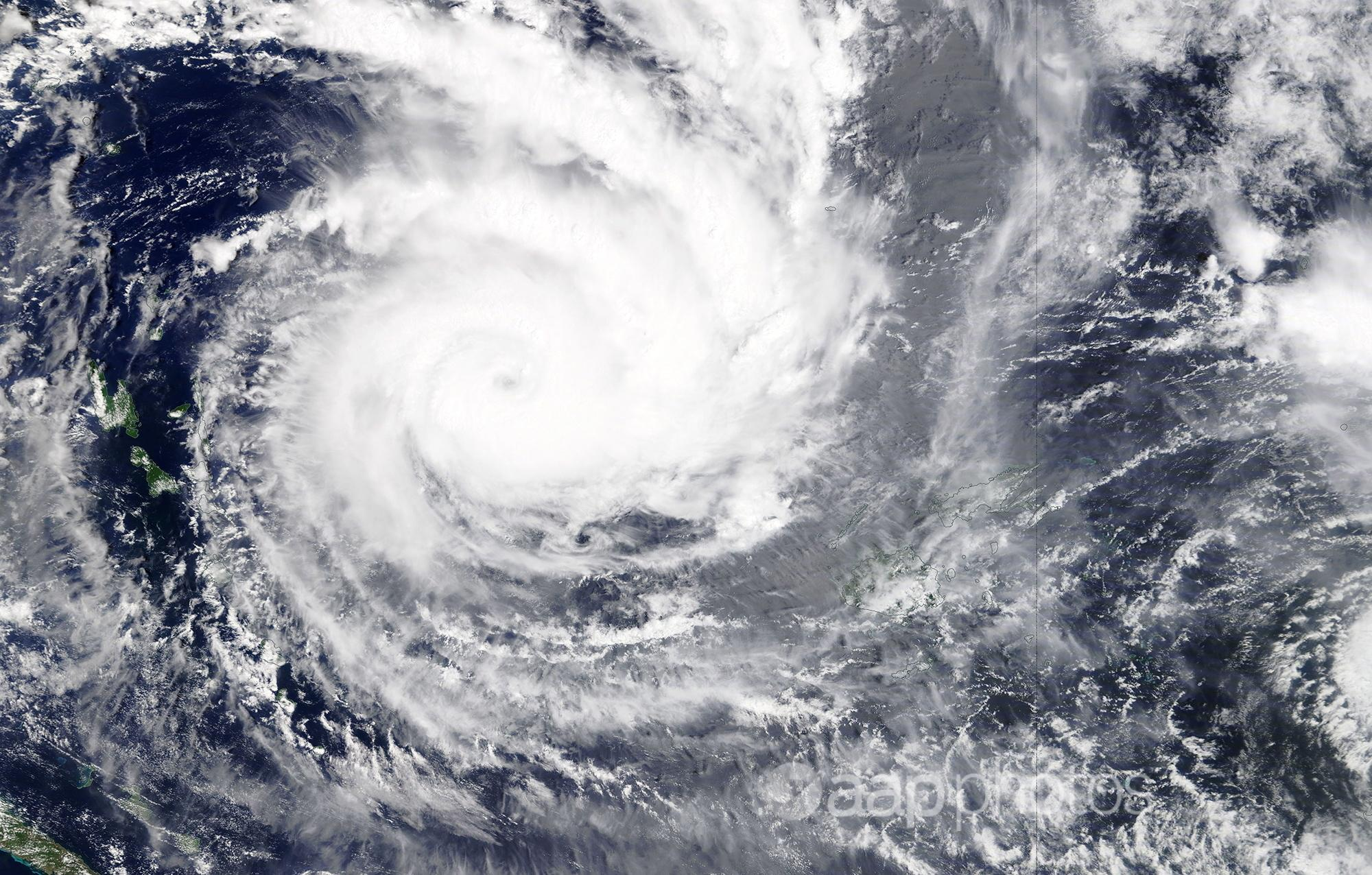 A satellite image of the Category five Cyclone Yasa.