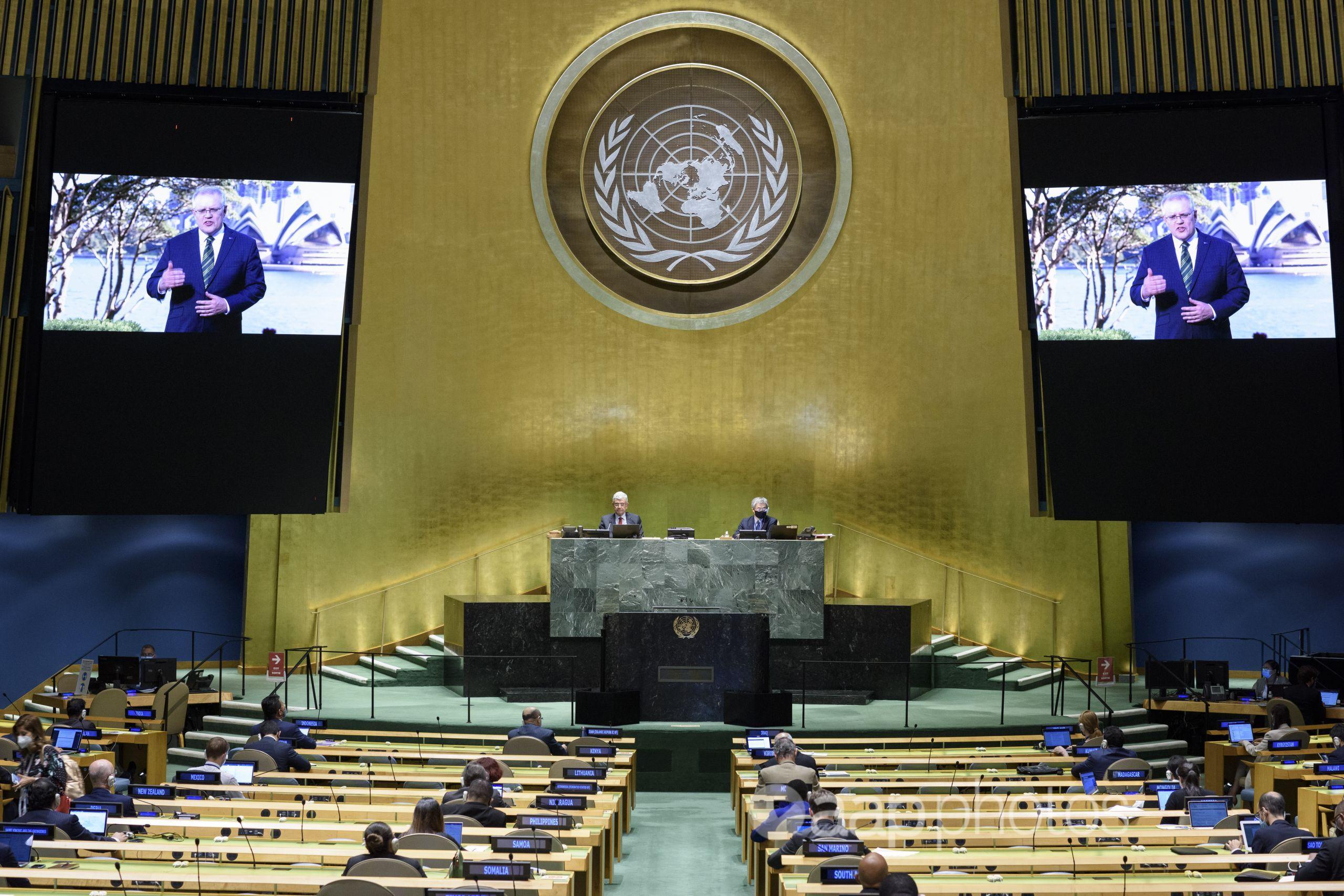 Scott Morrison speaks at the United Nations General Assembly.