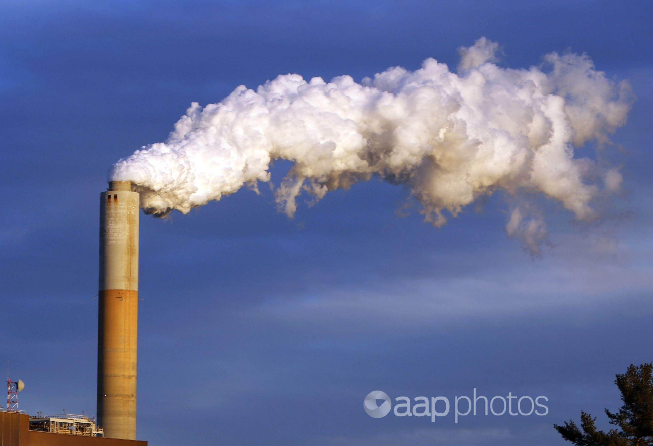 Steam billows from the chimney of a coal-fired power station.