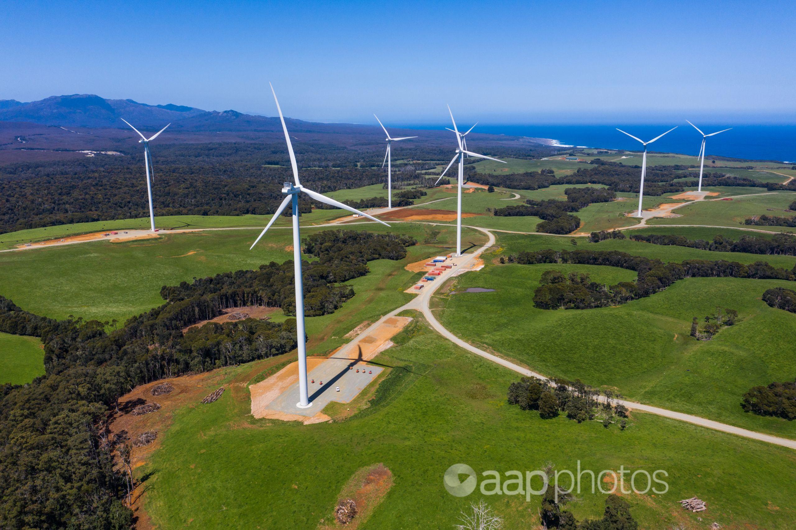 turbines in a green field
