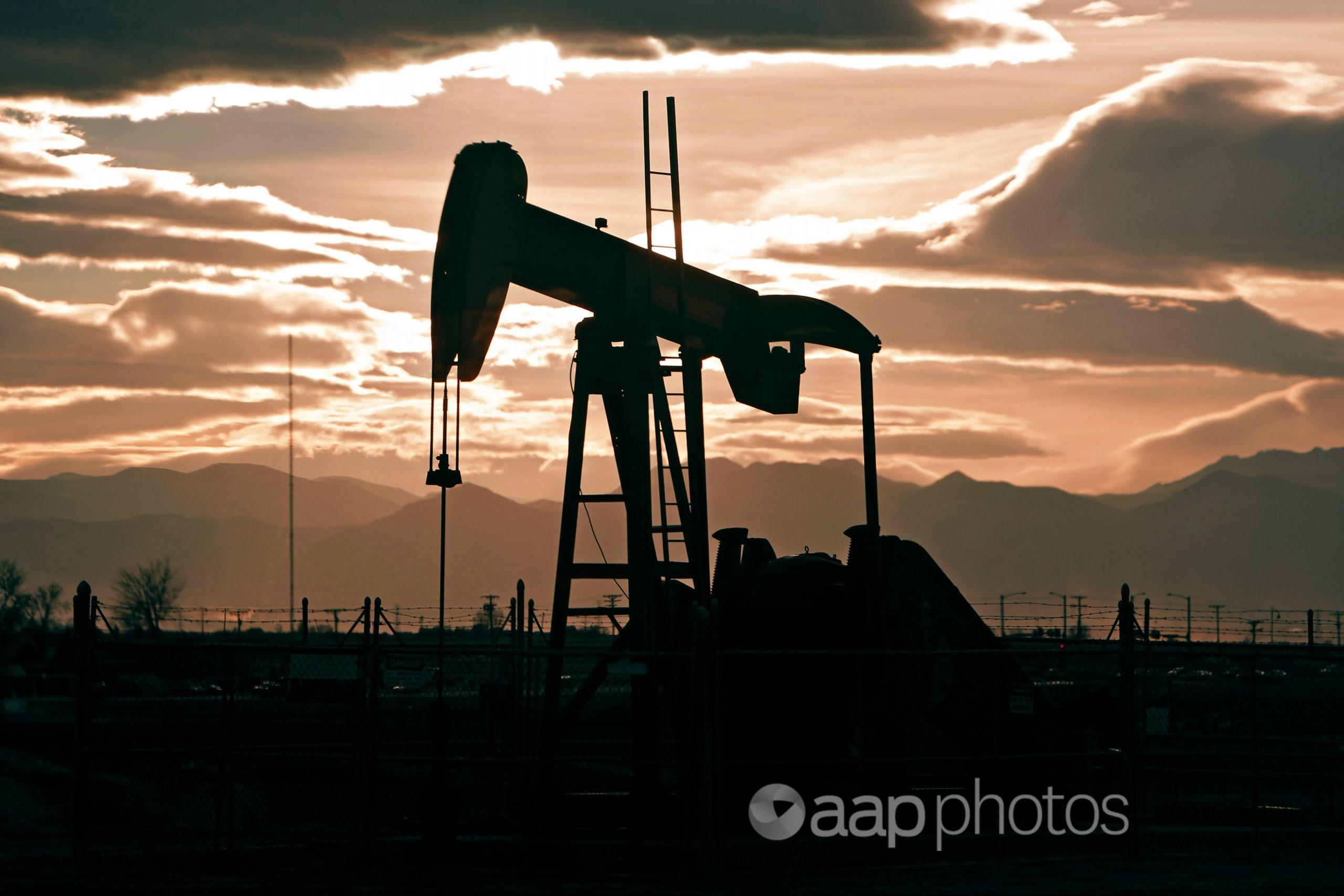 An oil pump jack.
