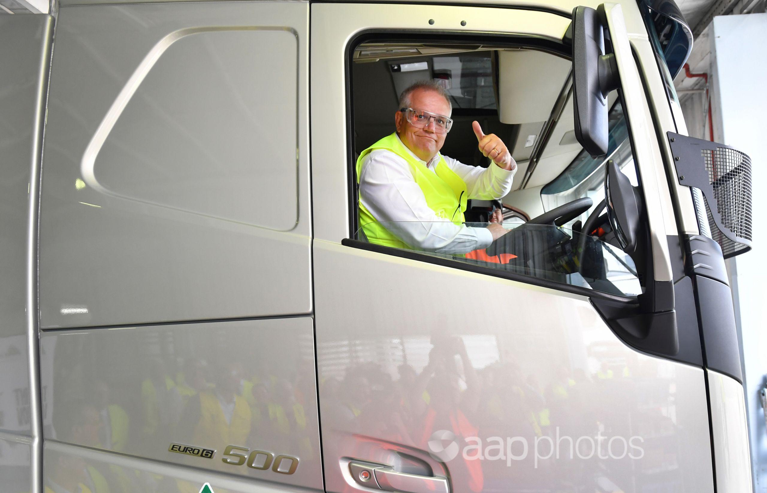 Prime Minister Scott Morrison in a truck