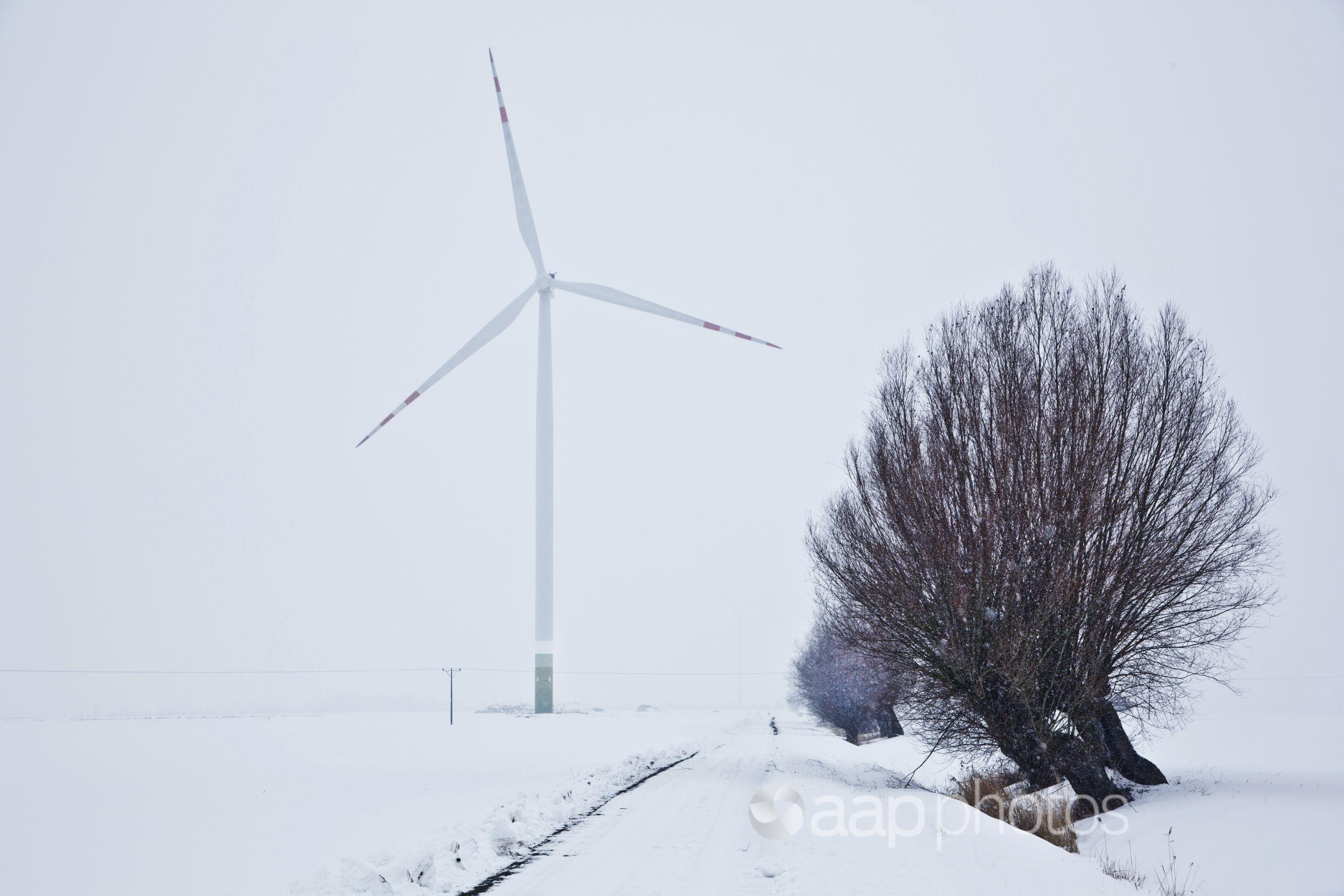A wind turbine during a cold snap in Europe.