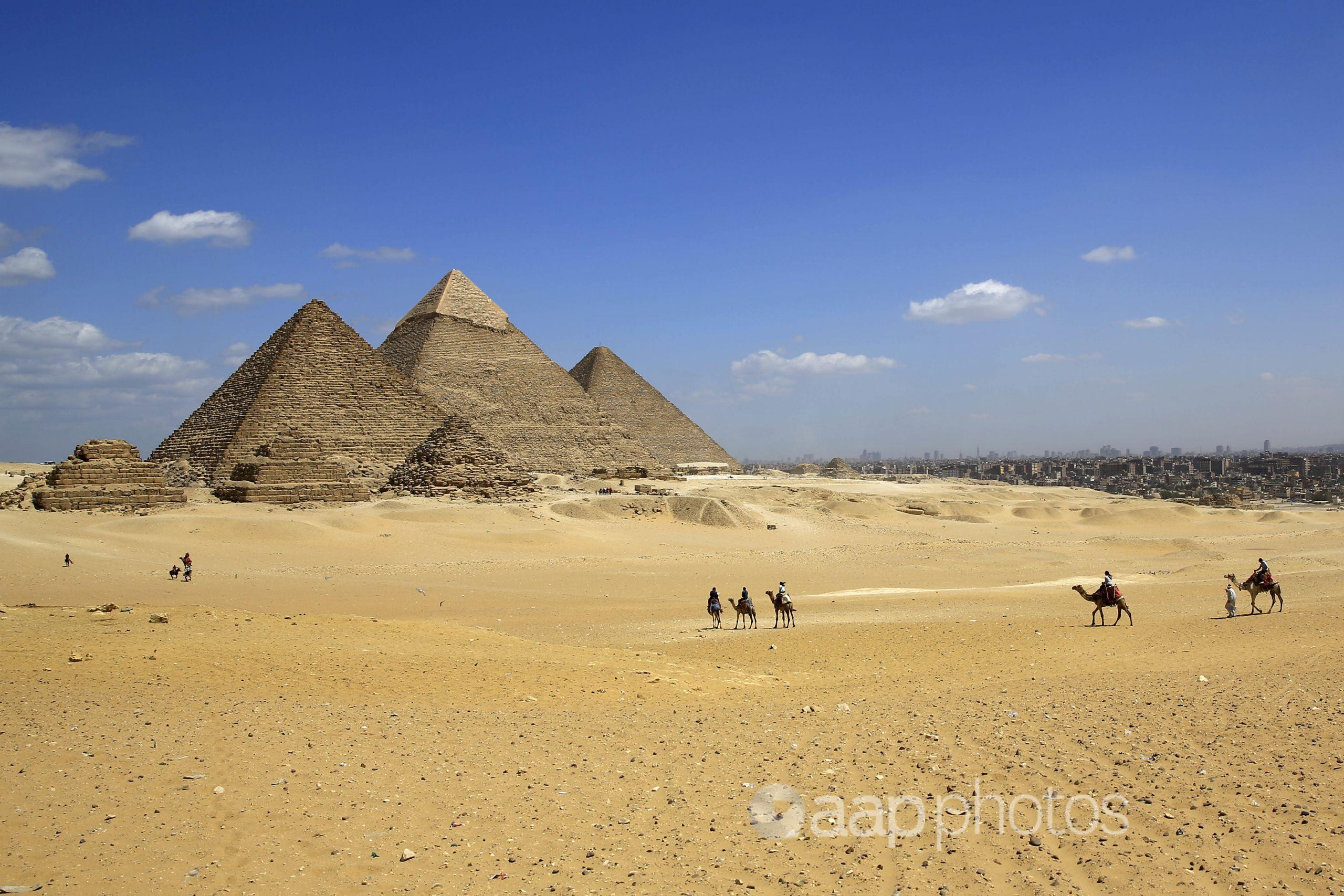 The Giza Pyramids in Giza, near Cairo.