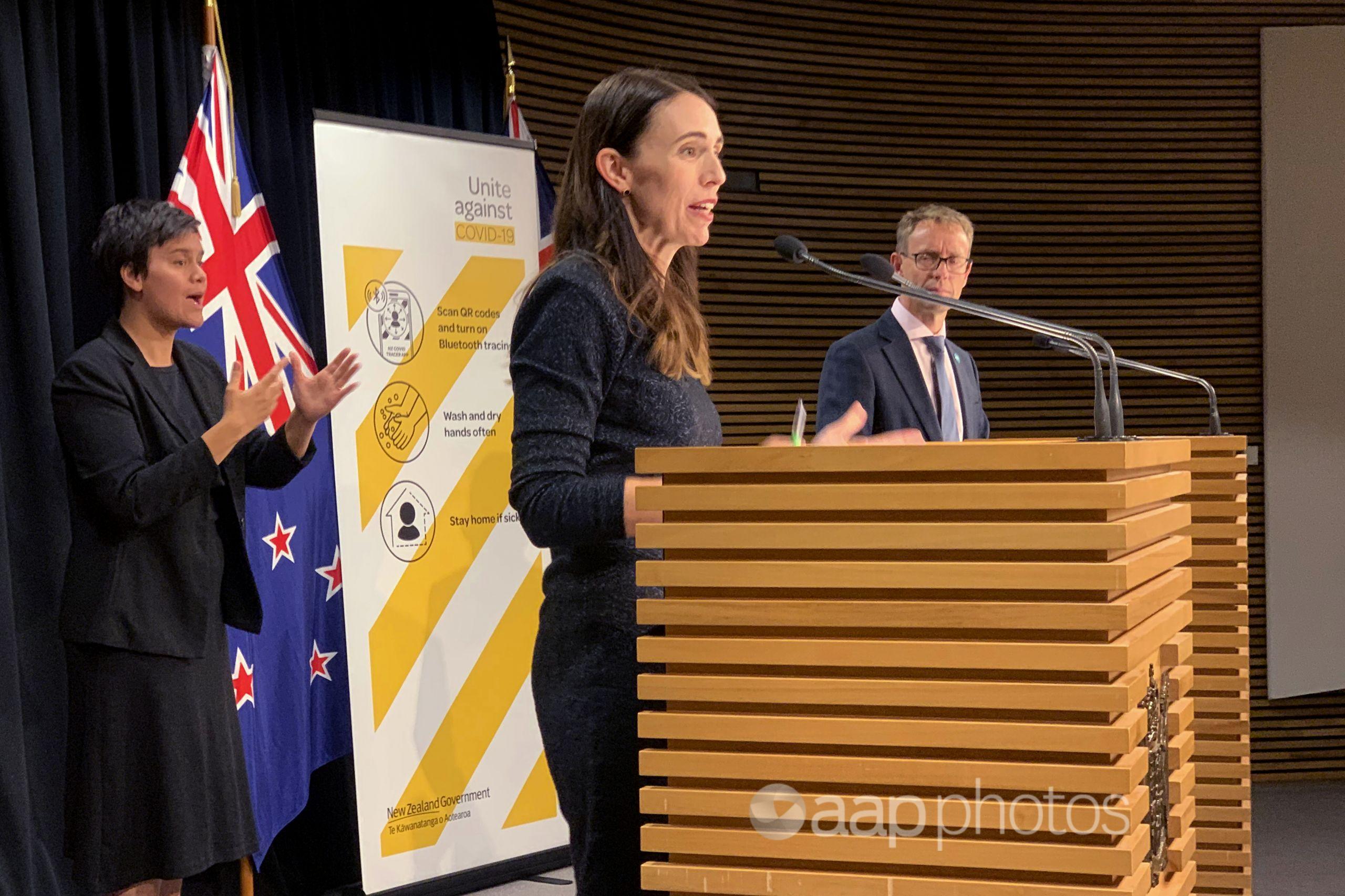 NZ PM Jacinda Ardern and Director-General of Health Ashley Bloomfield