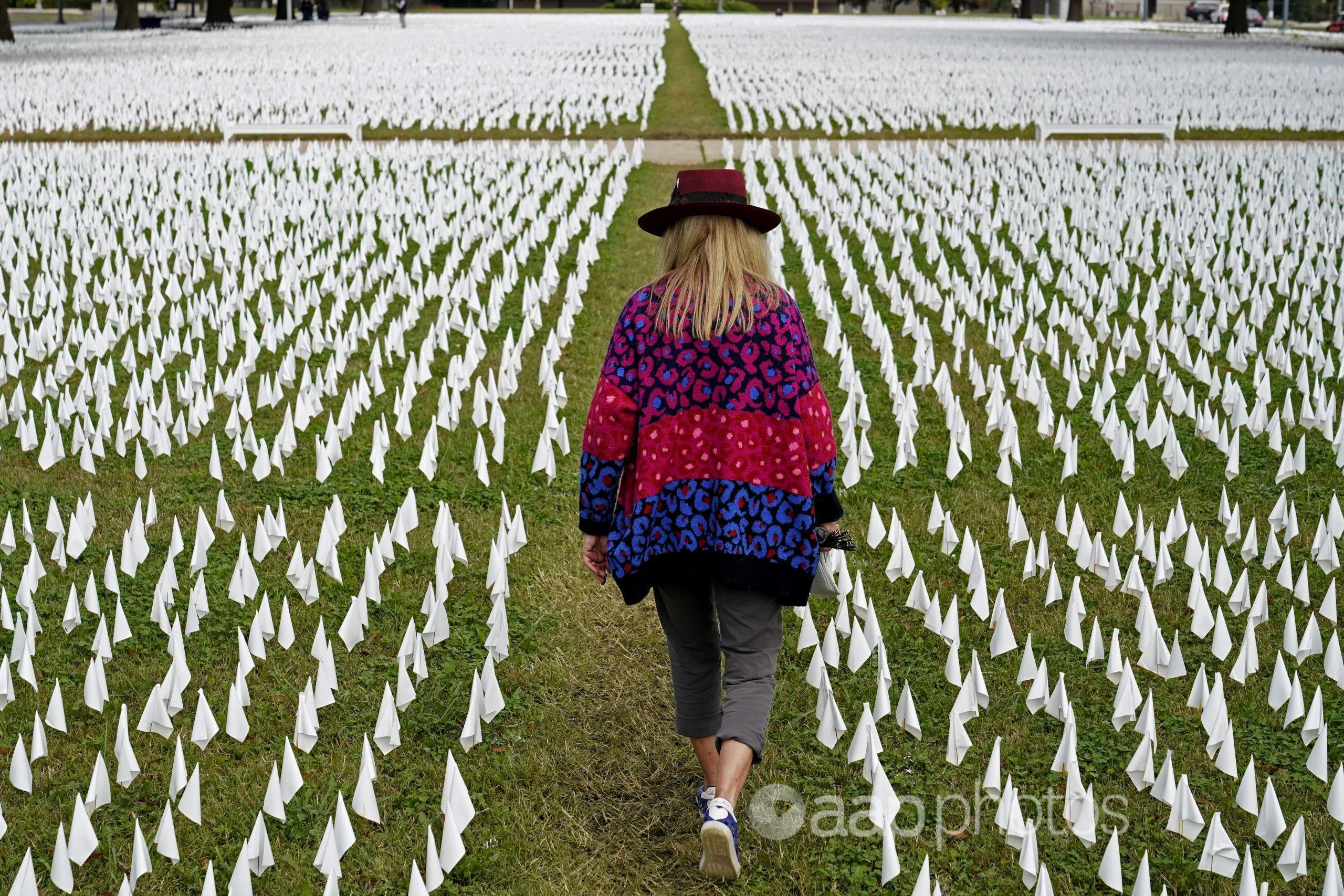 A woman walks among white flags  in Washington.