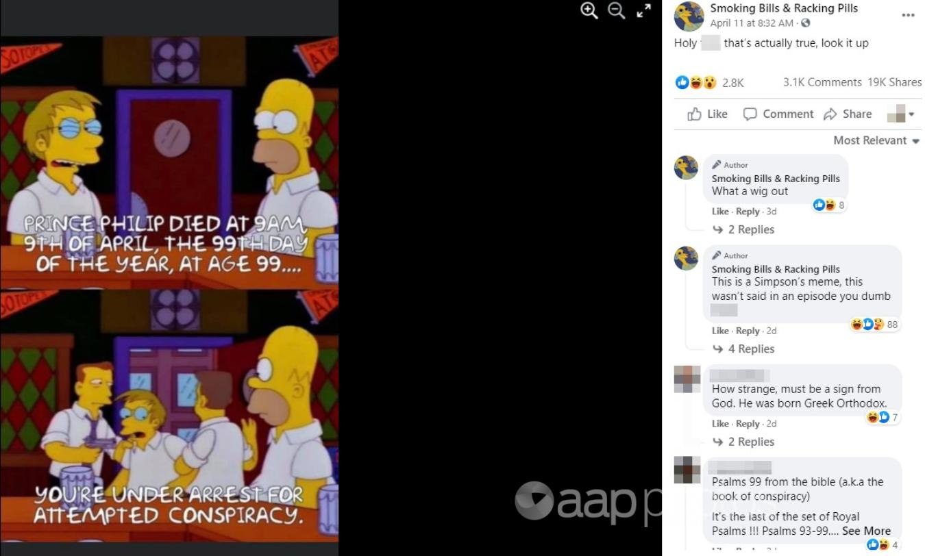 A Facebook post including the Simpsons meme