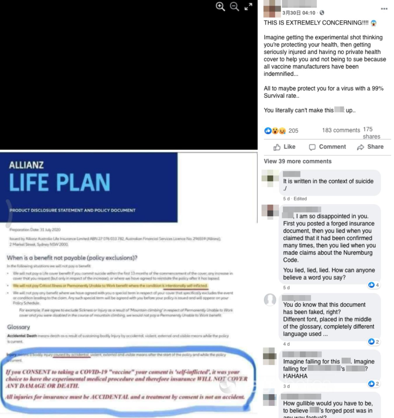 A Facebook post including an edited Allianz document