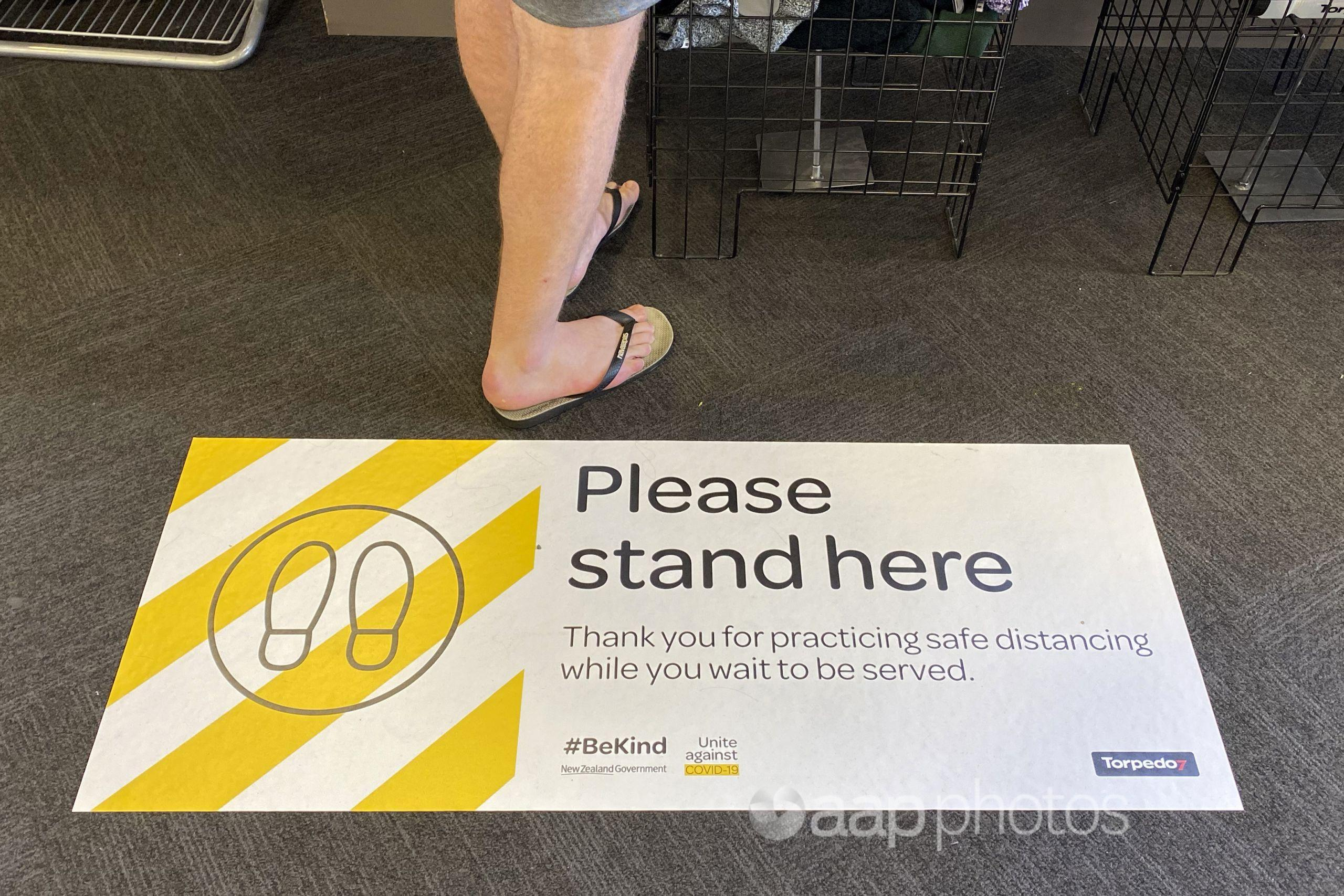 New Zealand social distancing sign