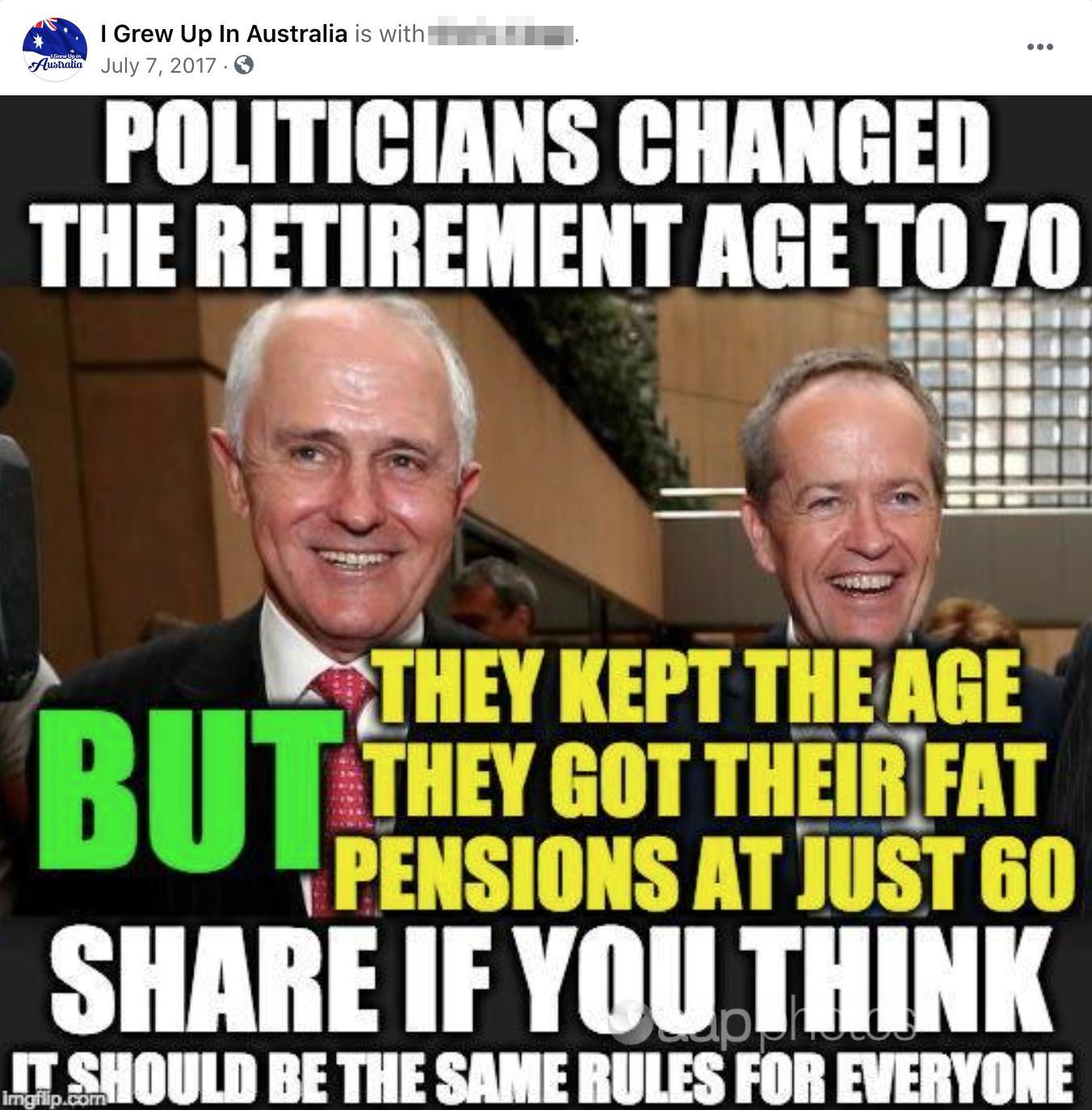 A meme about politicians' pensions