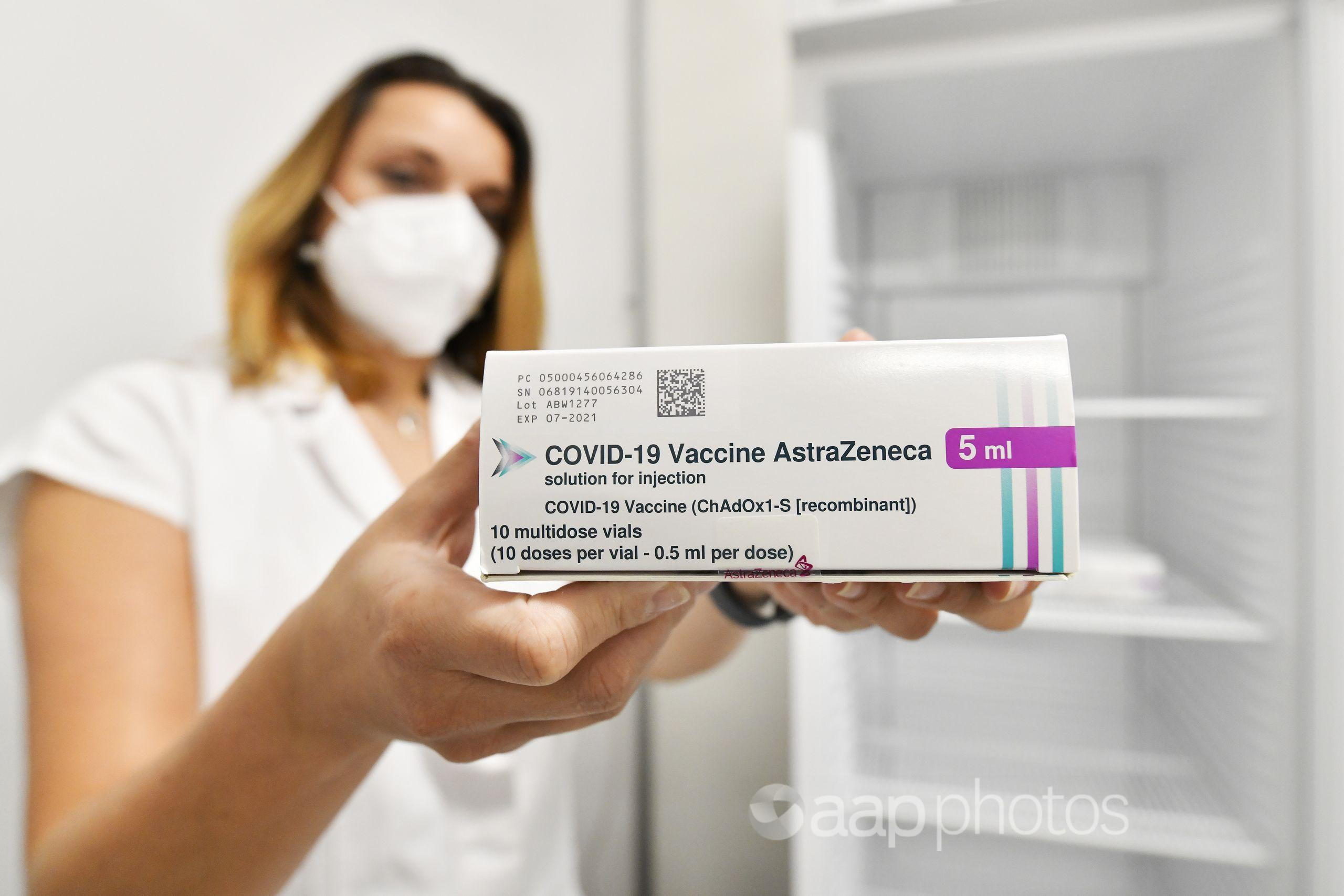 A package of COVID-19 vaccine AstraZeneca.
