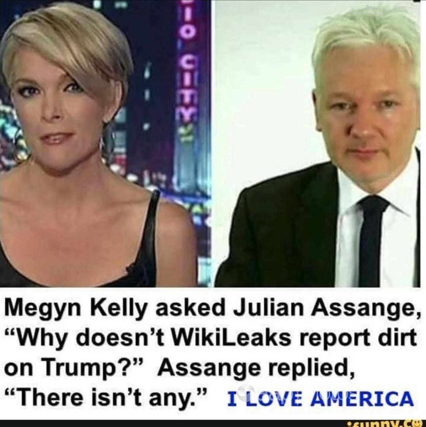 The meme with Julian Assange's purported comments on Trump