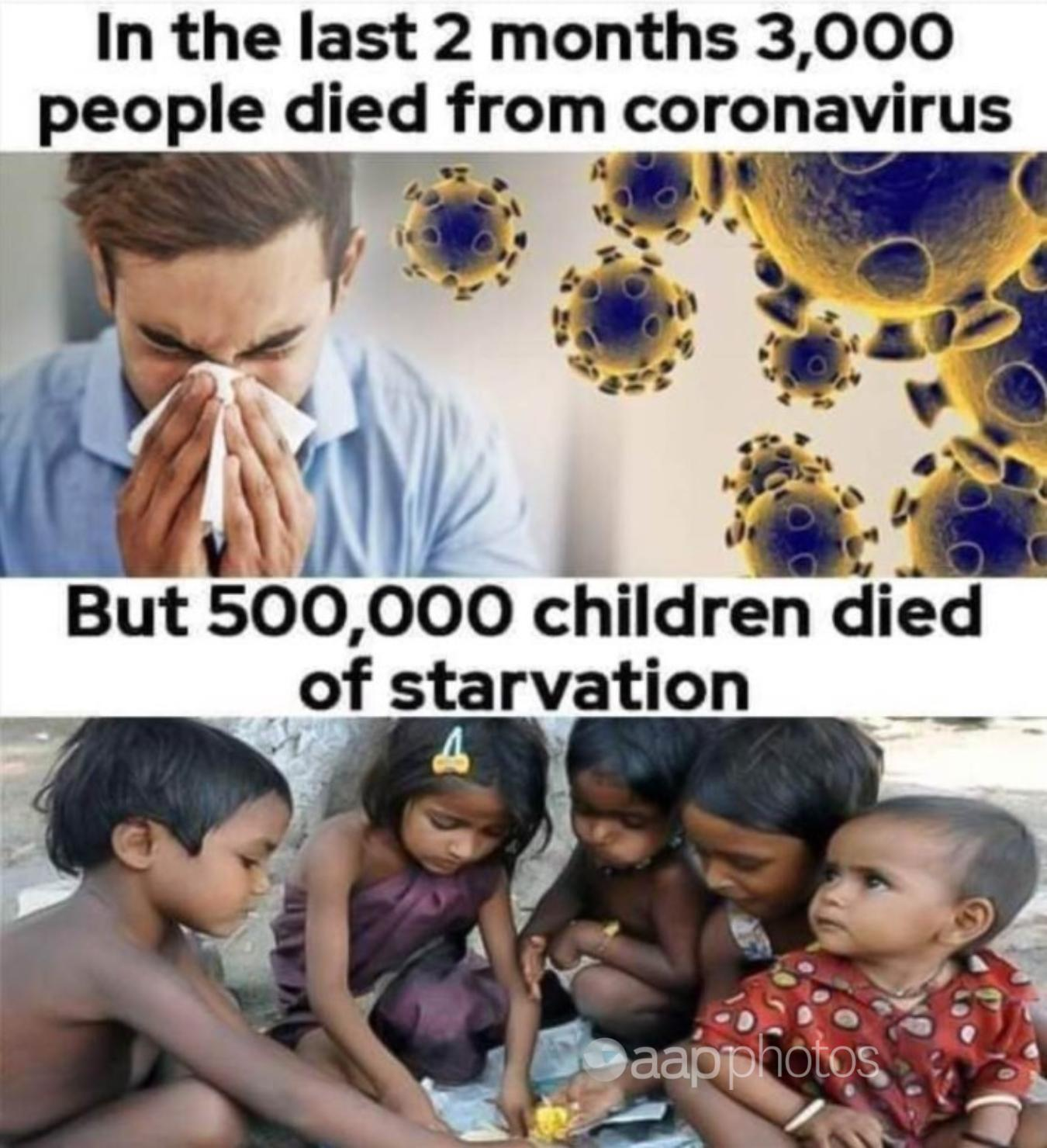 A meme comparing COVID-19 mortality to child starvation deaths.
