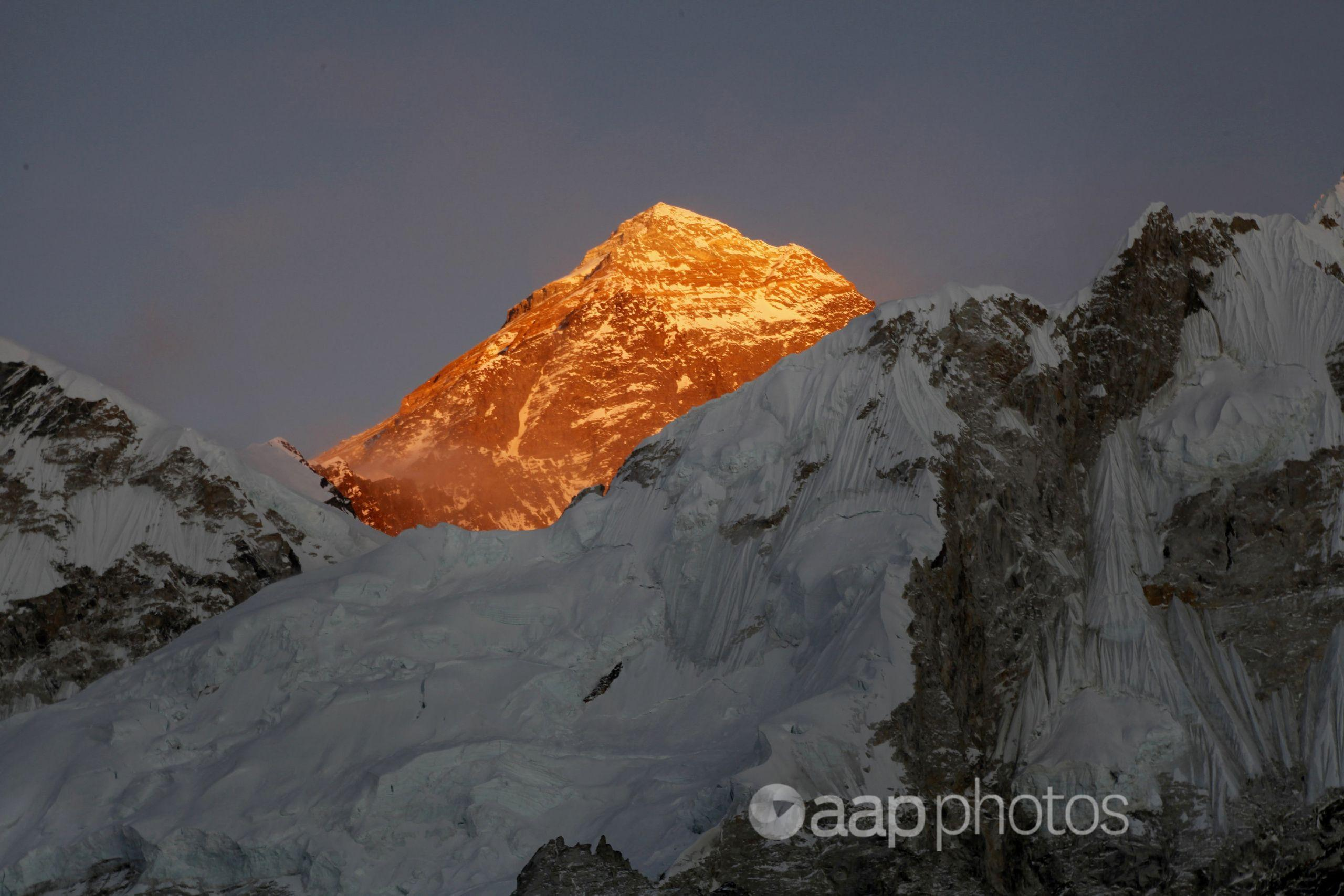 Mount Everest is seen from Nepal.