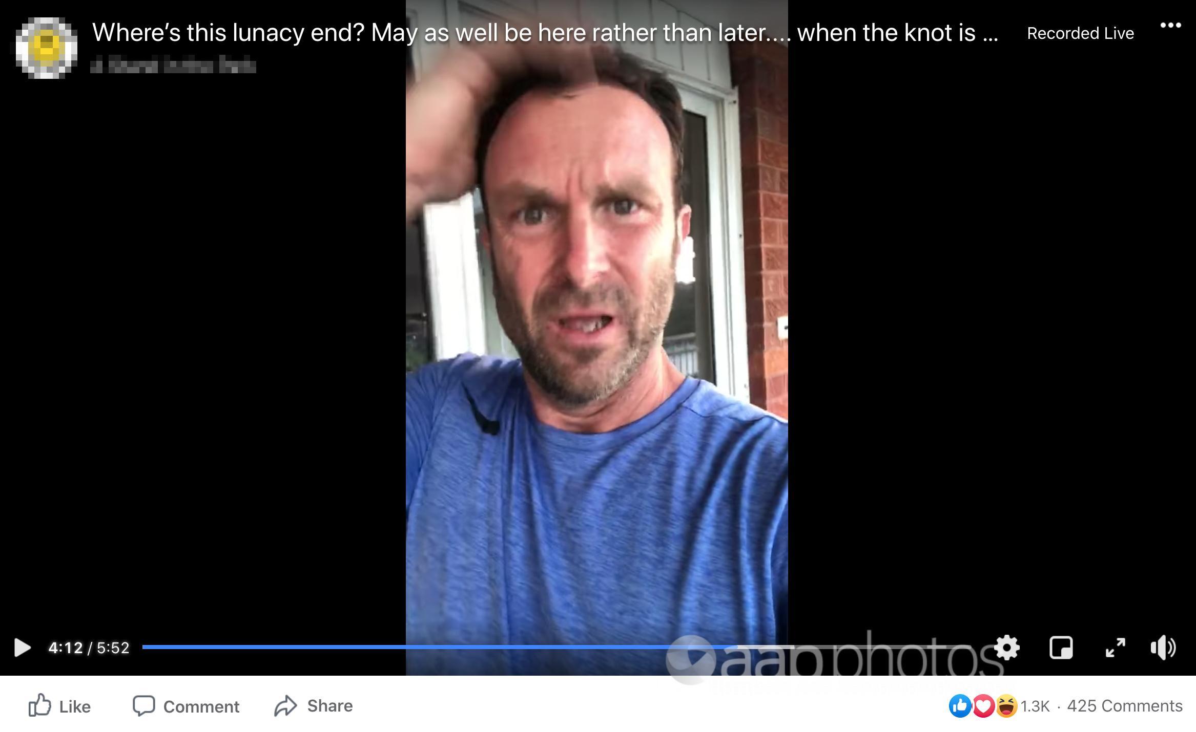 A screenshot of the Facebook video
