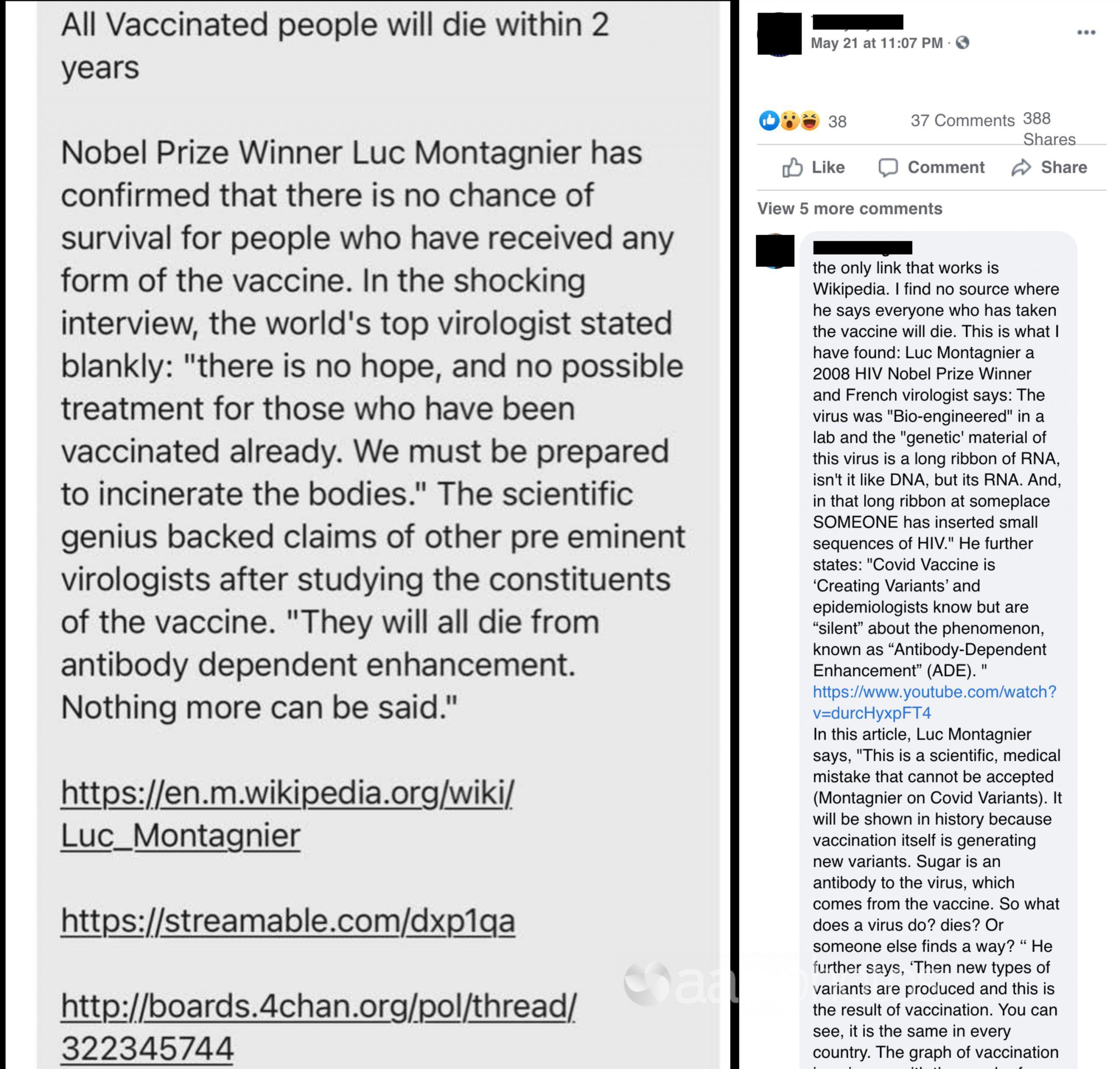 A Facebook post