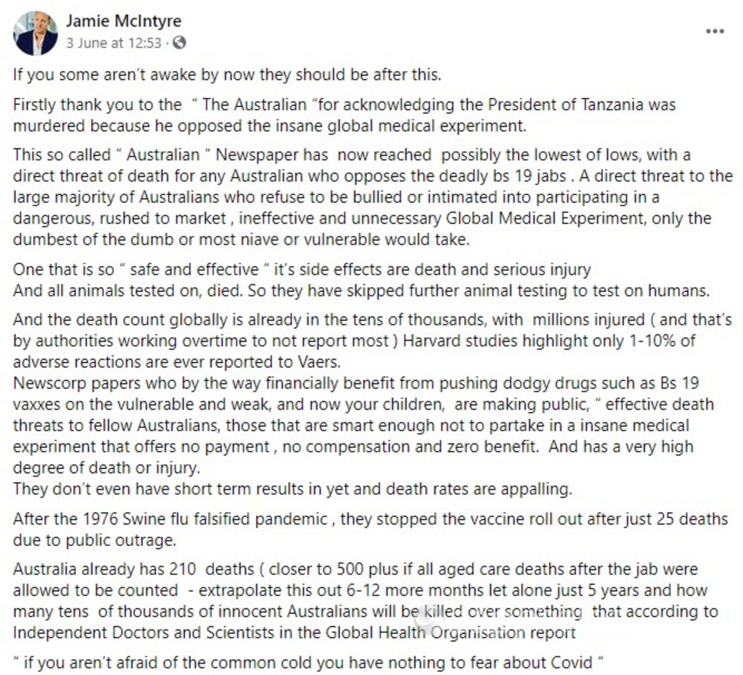 The Facebook post from June 3