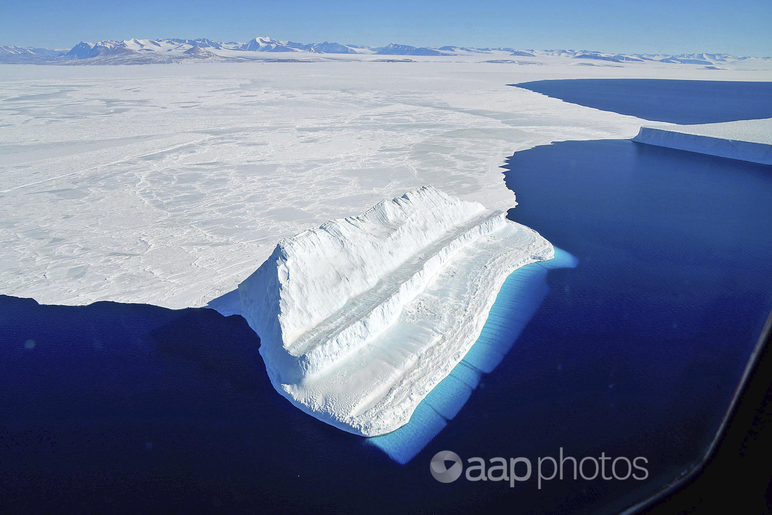 The frigid Antarctic region is an expanse of white ice and blue waters