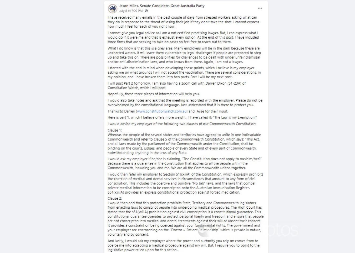 A Facebook post including the claim
