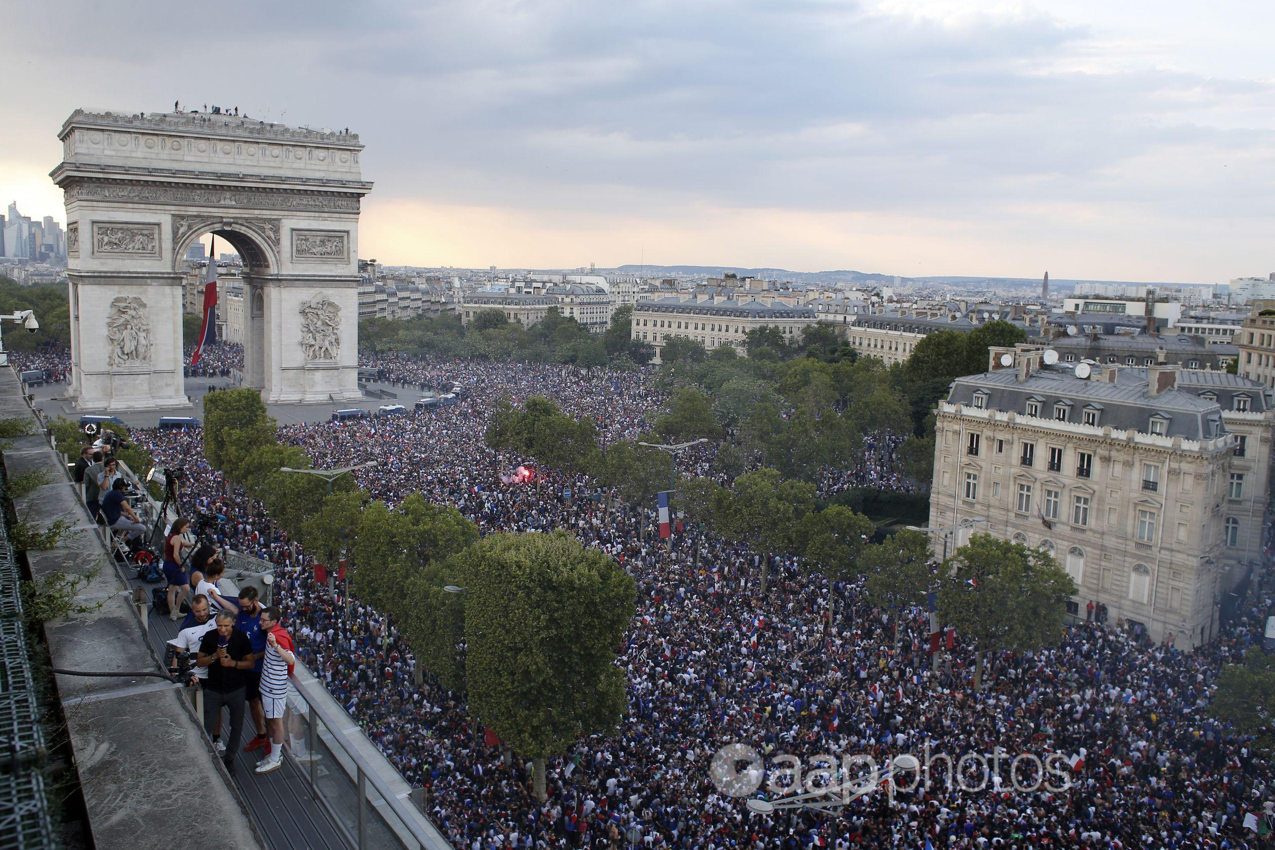 Fans celebrate France's 2018 World Cup victory in Paris.