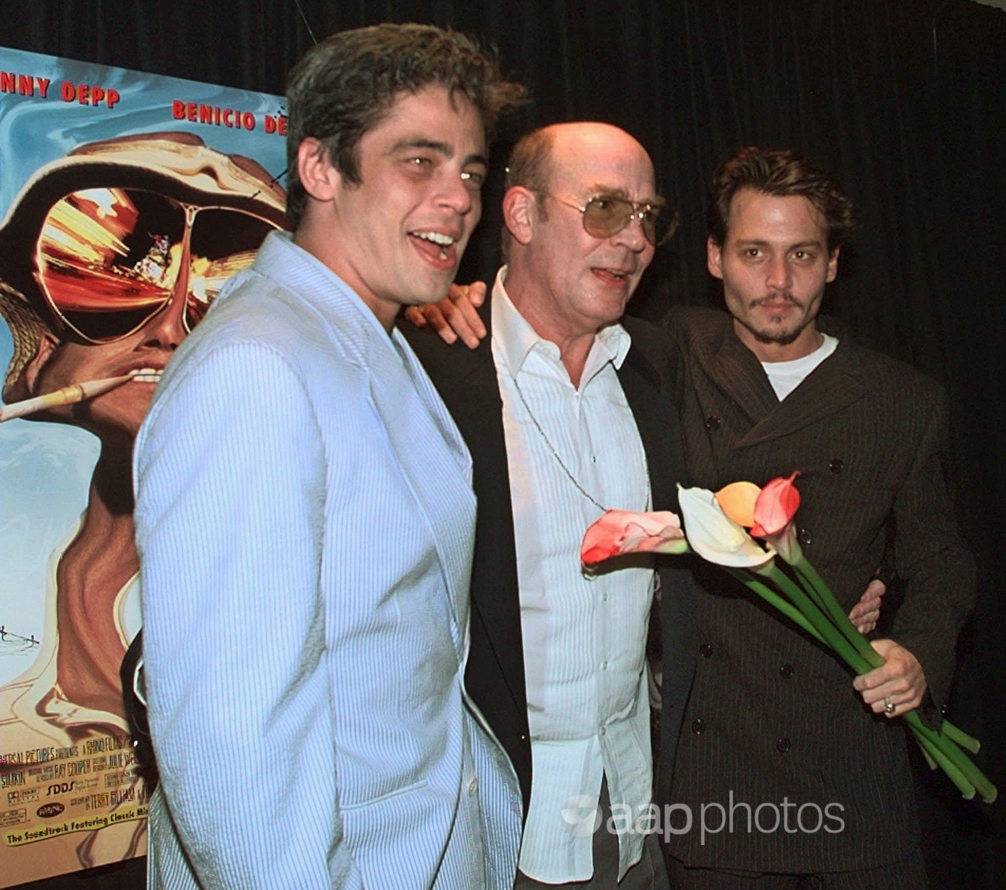Benicio Del Toro and Johnny Depp with Hunter S Thompson