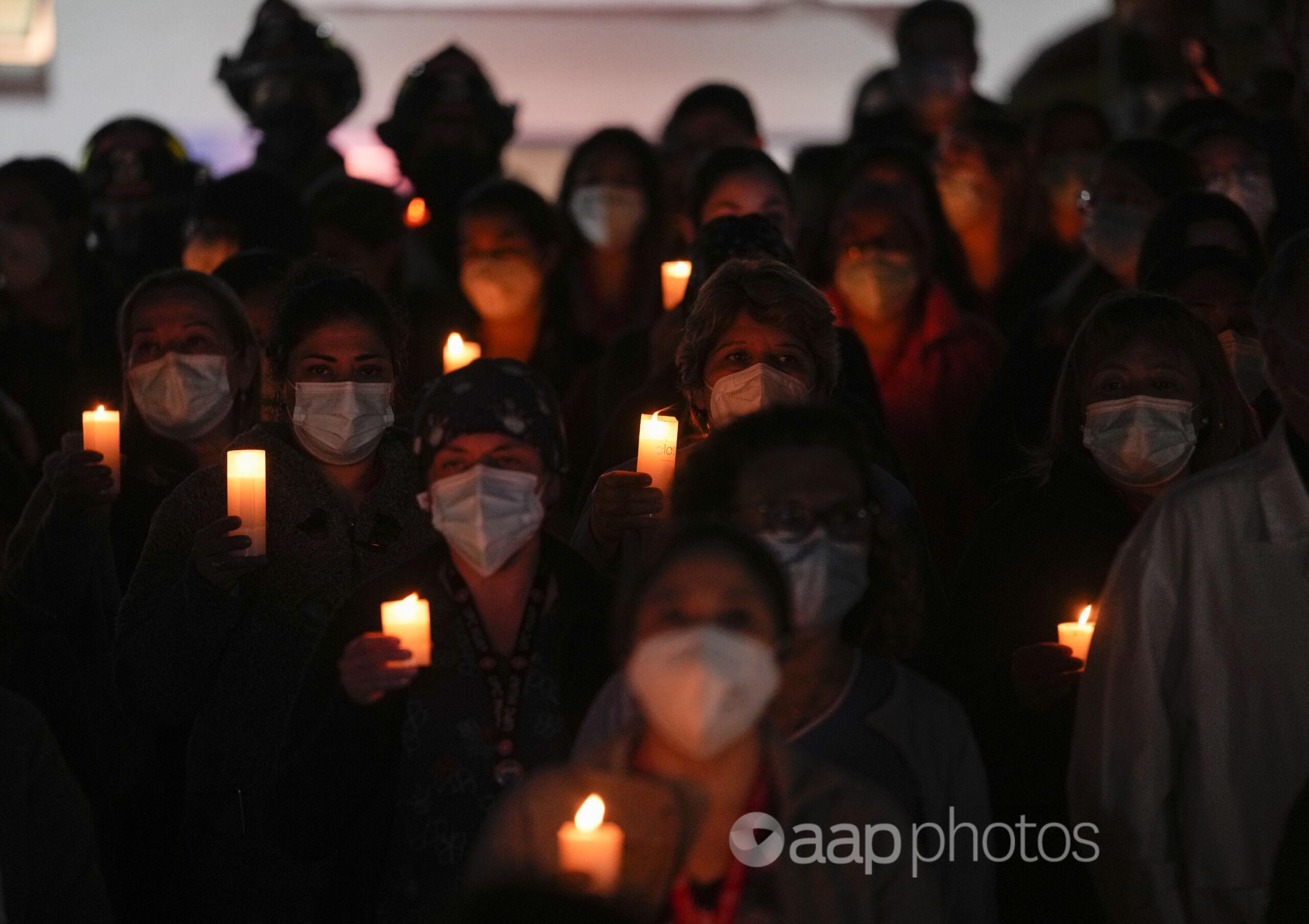 A vigil for COVID-19 victims held in Santiago, Chile.