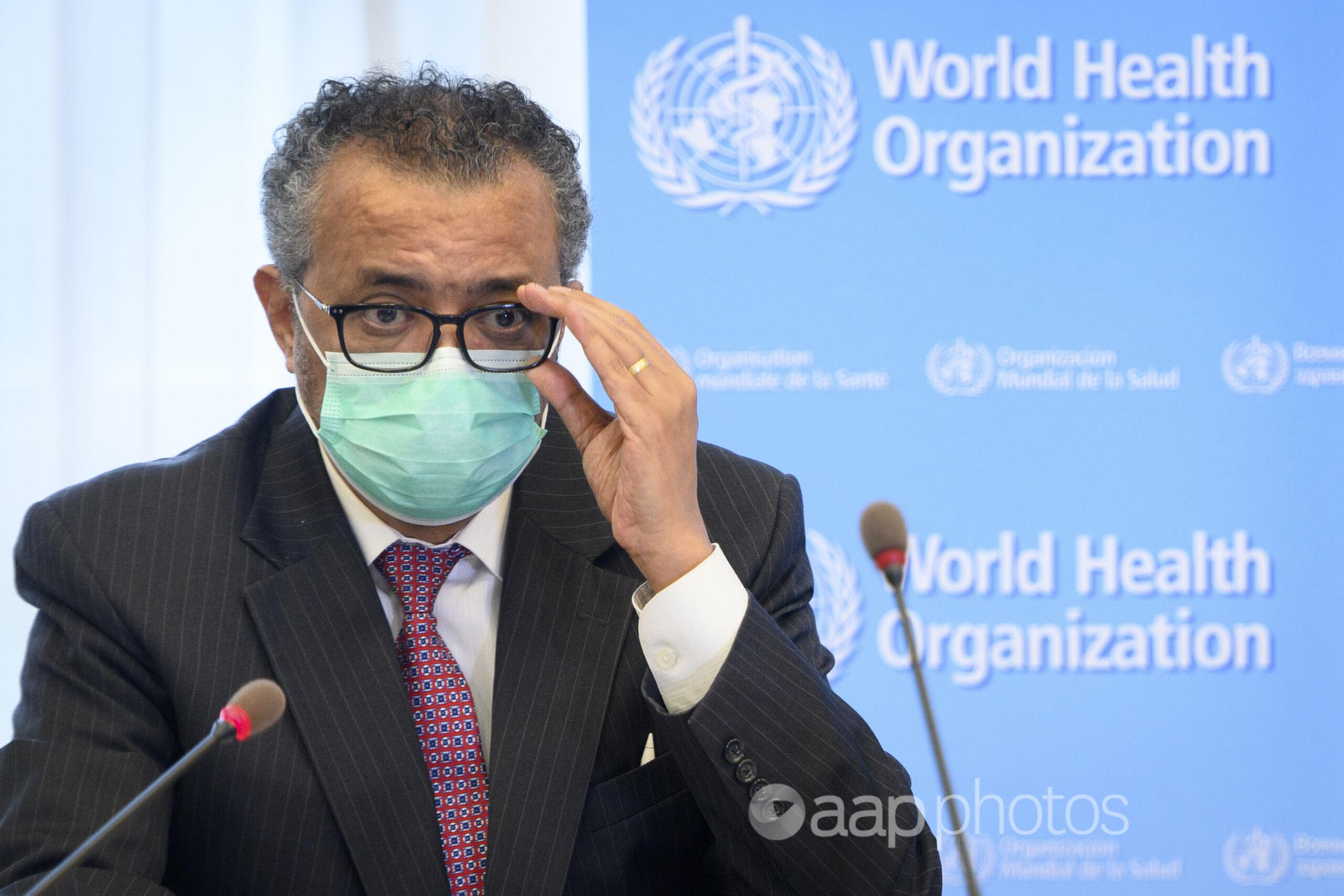 World Health Organisation director-general Tedros Adhanom Ghebreyesus.
