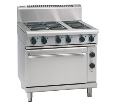 Waldorf 800 Series 900mm Electric Range Static Oven with 4 Electric Burners and 300mm Griddle Plate