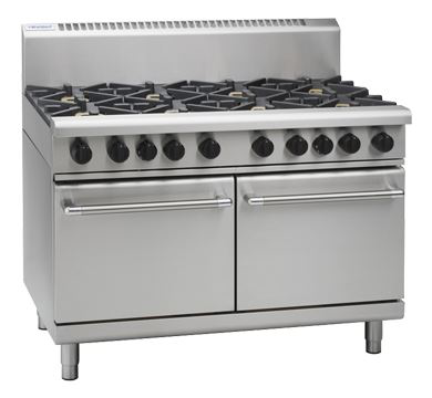 Waldorf 800 Series 1200mm Gas Range Double Static Oven with 6 Burners and 300mm Griddle Plate