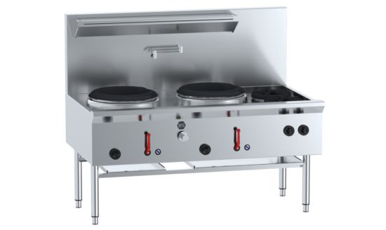 B+S Black UFWWD-2SB2 Two Hole Deluxe Waterless Wok Table with Two Side Burners