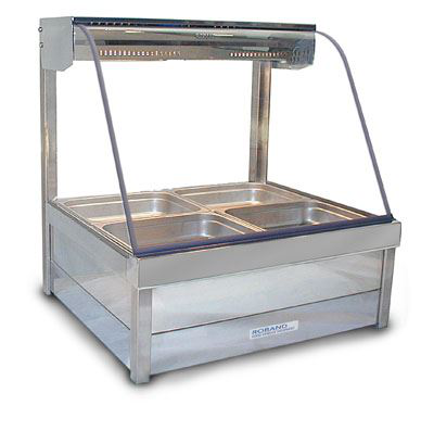 Roband C22 Curved Glass Hot Food Display Bar 4 Pans - Double Row