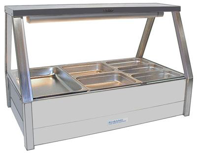 Roband E23RD Straight Glass Hot Food Display Bar 6 Pans with Roller Doors - Double Row