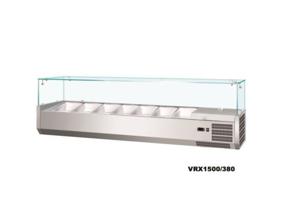 Saltas VRX1200 Refrigerated Countertop Ingredient Well Glass Top