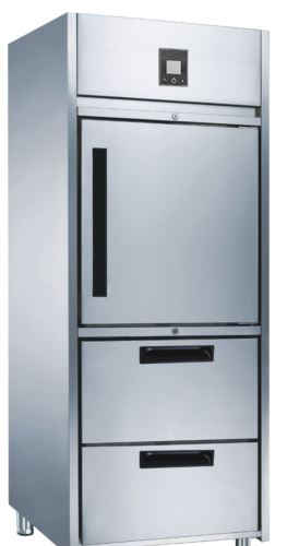 Advantage Platinum 1 x 1/2 Solid Door and 2 Drawer Upright Freezer