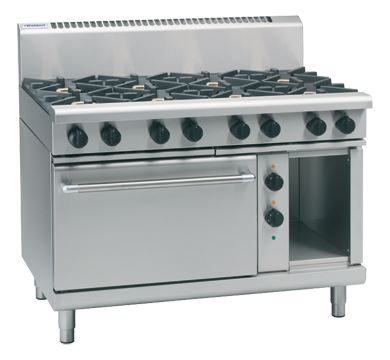 Waldorf 800 Series 1200mm Gas Range Electric Static Oven with 6 Burners and 300mm Griddle Plate