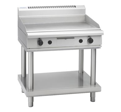 Waldorf 800 Series 900mm Gas Griddle Low Back Version  Leg Stand